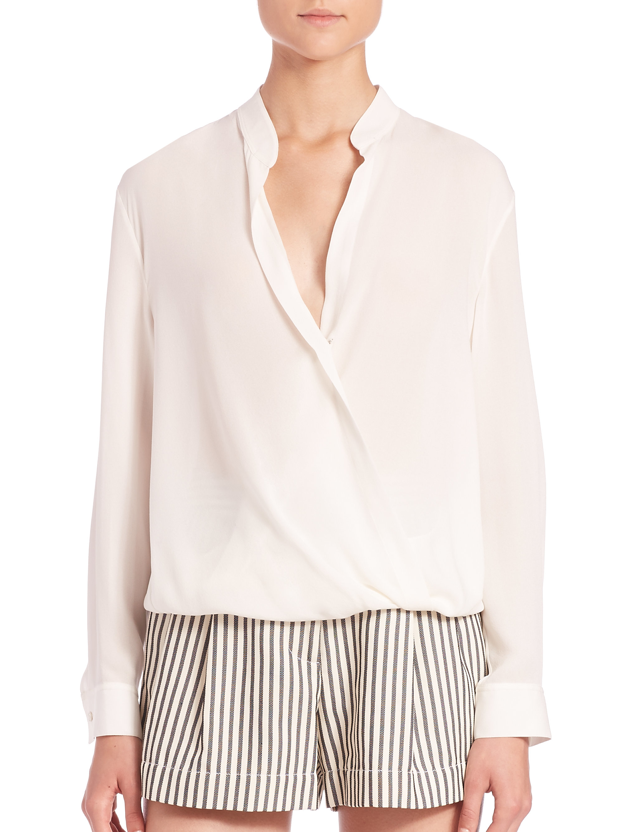 21bd2507ff0c4 Lyst - 3.1 Phillip Lim Draped Surplice Silk Blouse in White