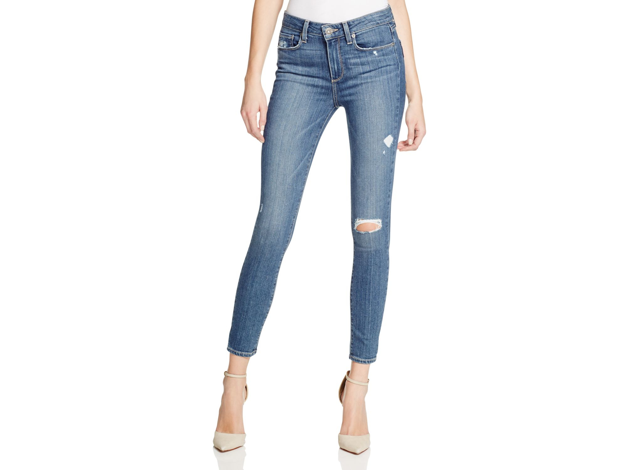 30ba5a354e2 Lyst - PAIGE Denim Hoxton Ankle Skinny Jeans In Silas Destroy in Blue