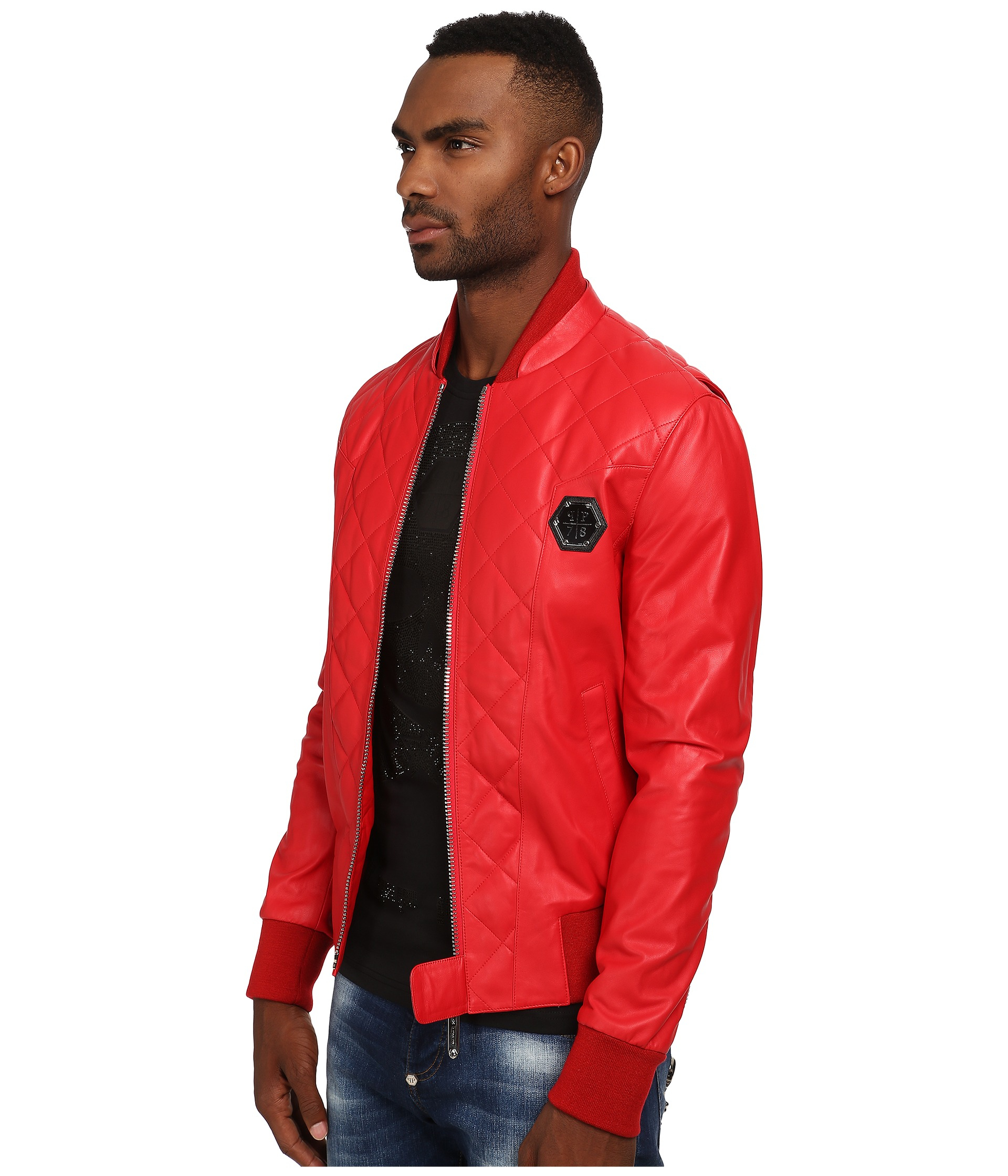 lyst philipp plein no one leather jacket in red for men. Black Bedroom Furniture Sets. Home Design Ideas