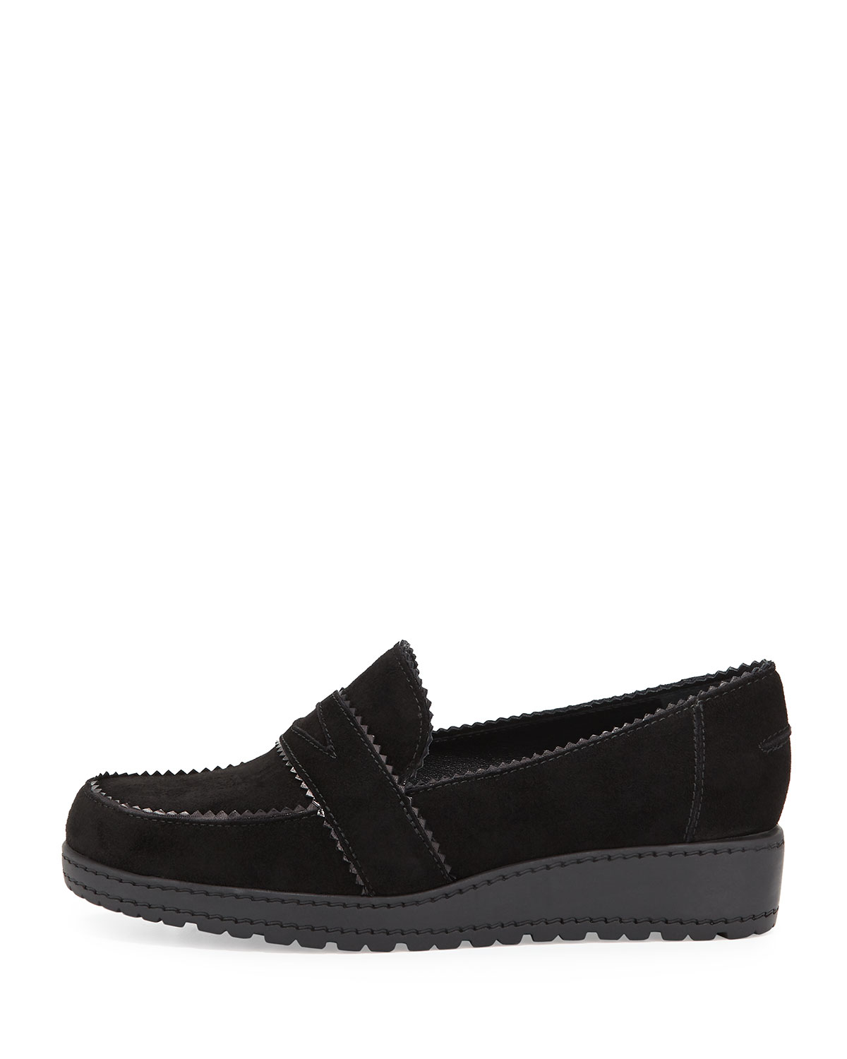 Lyst Stuart Weitzman Schooldays Suede Penny Loafers In Black