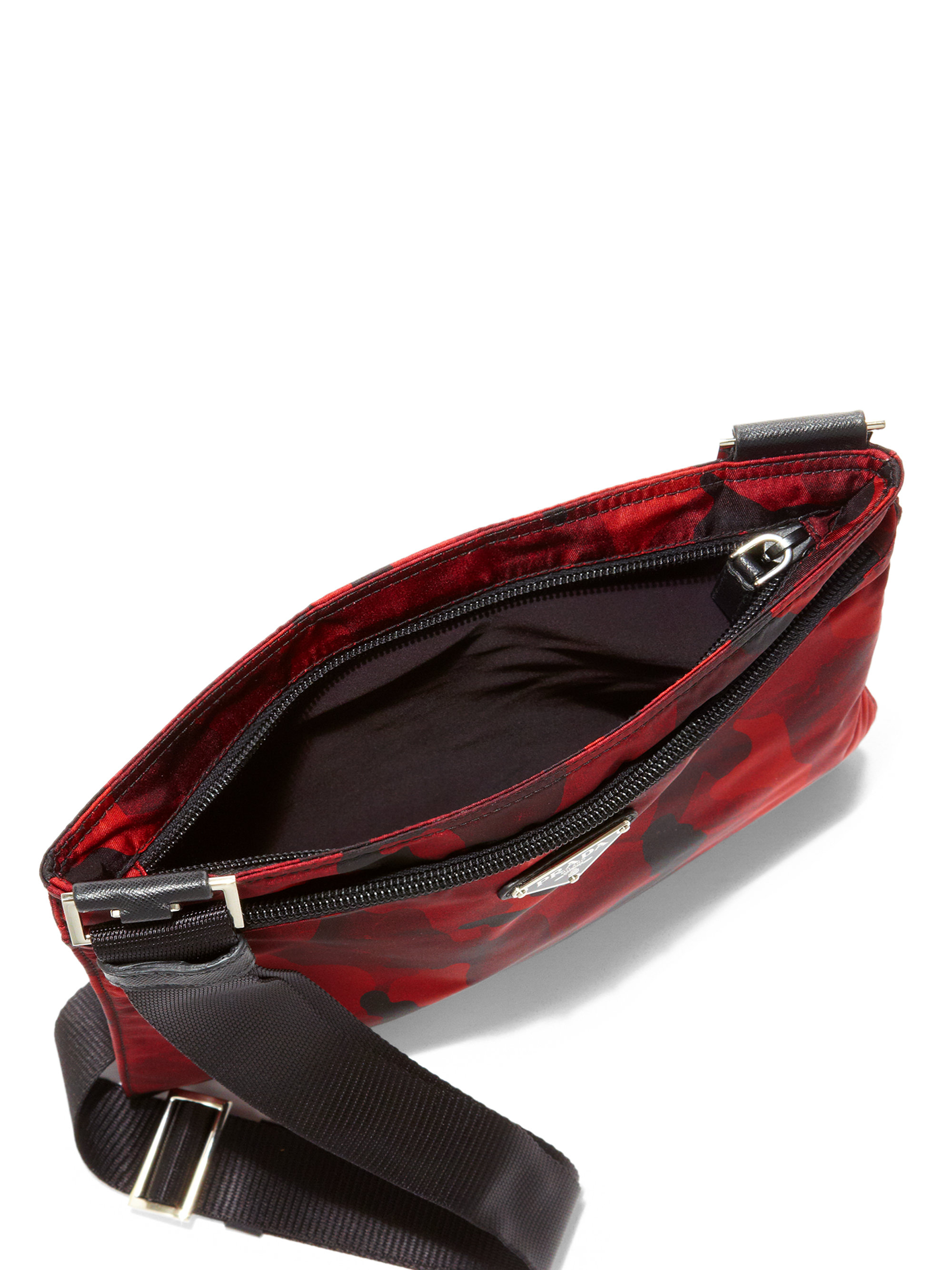 04143a880e473e Prada Tessuto Camouflage Small Crossbody Bag in Red - Lyst