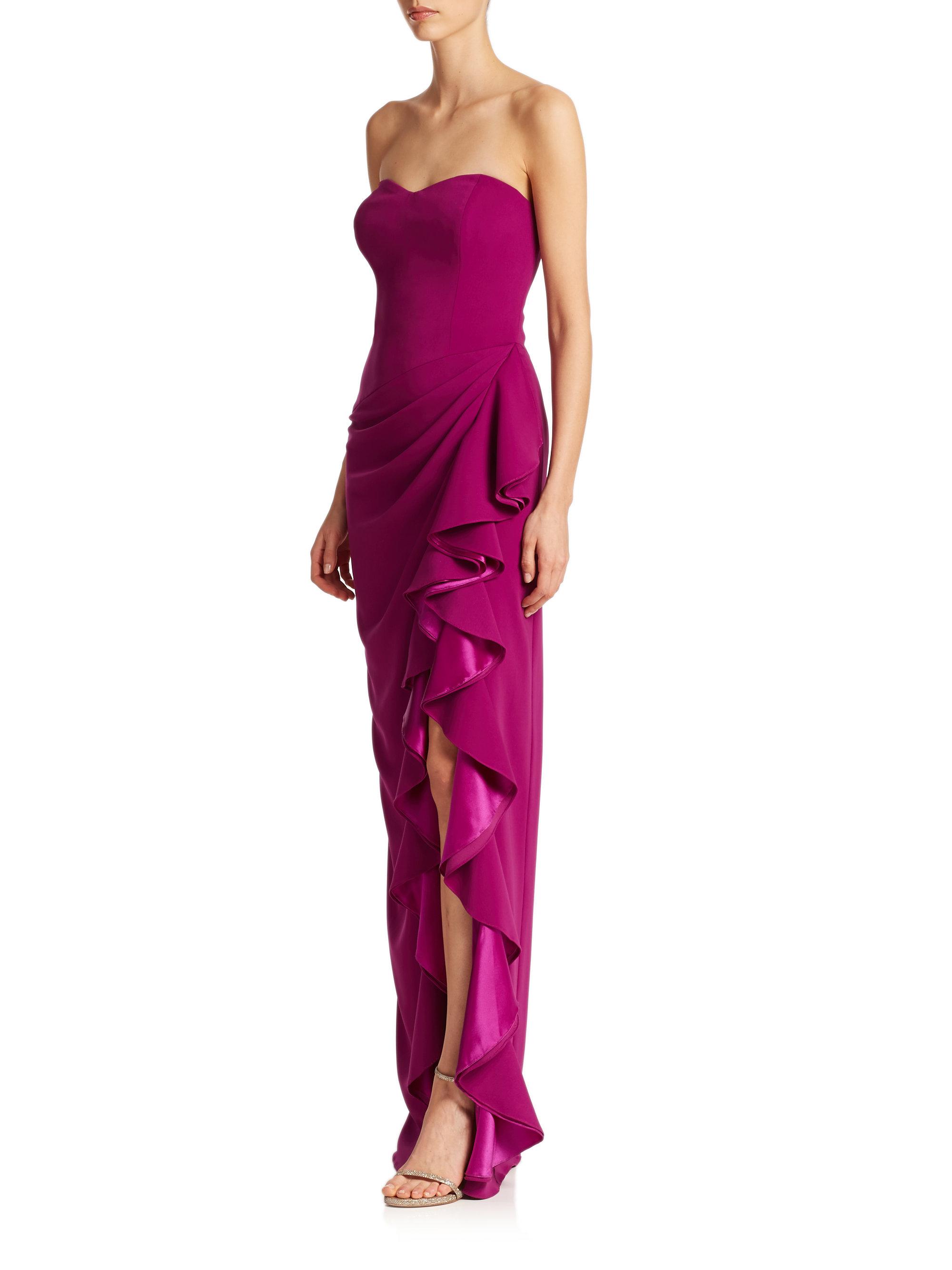 c7c381497cc9 Badgley Mischka Strapless Ruffled Gown in Purple - Lyst