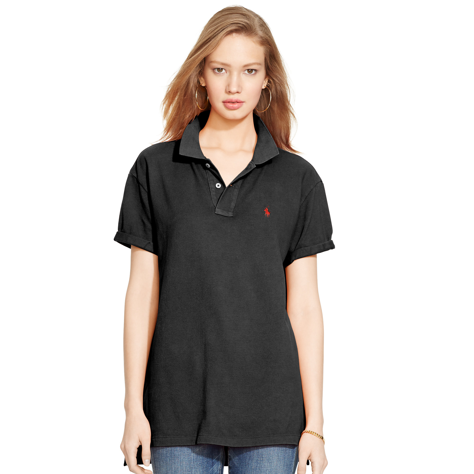 lyst polo ralph lauren boyfriend polo shirt in black. Black Bedroom Furniture Sets. Home Design Ideas