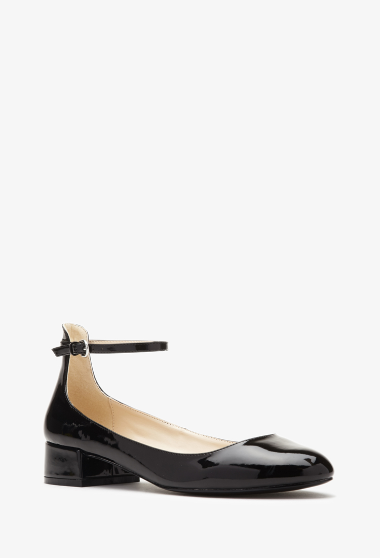 617c7edae Lyst - Forever 21 Faux Patent Leather Ankle Strap Flats in Black