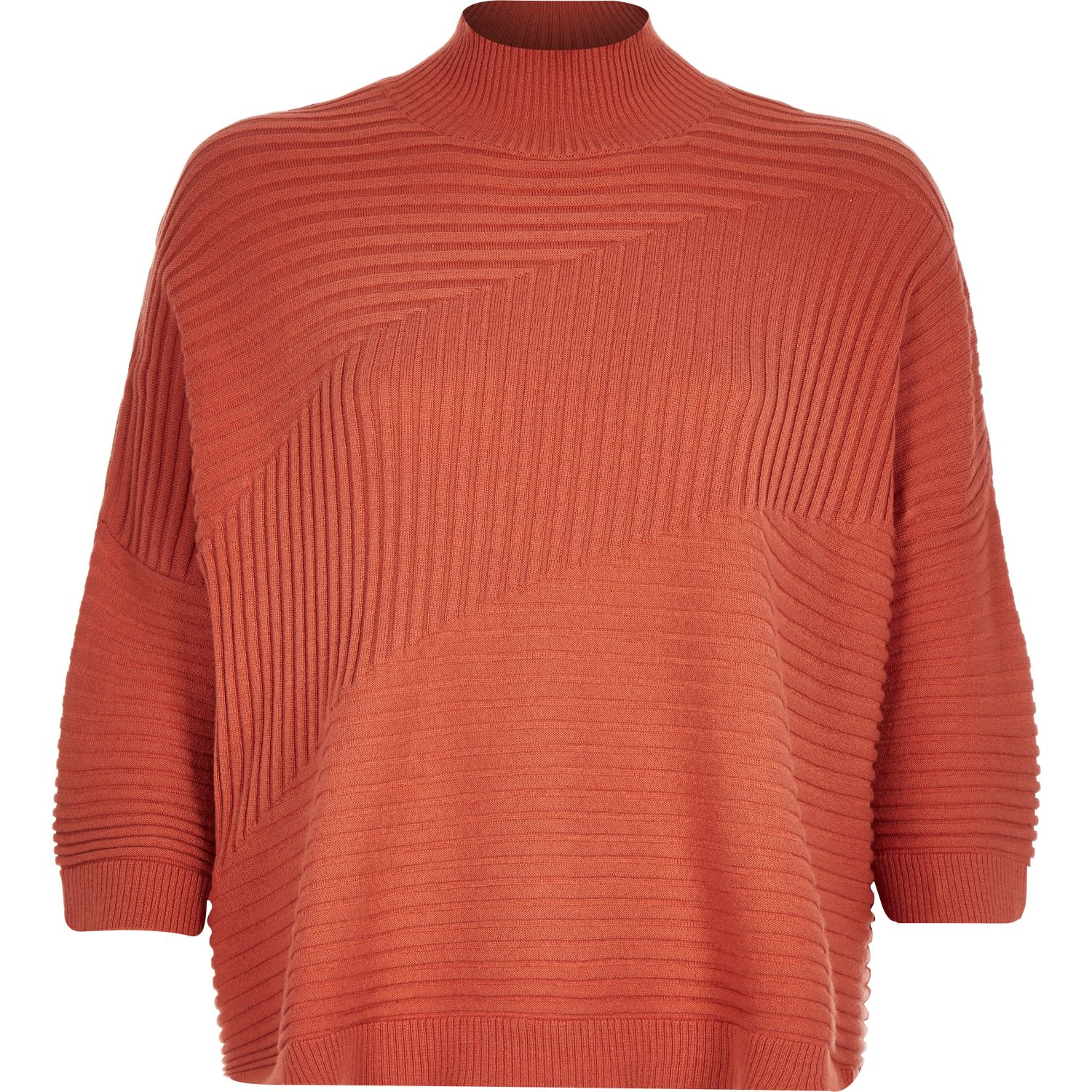 In Island Orange Textured Ribbed River Jumper High Lyst Neck U6OqvZv