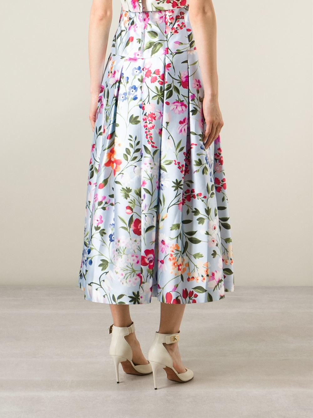 07a2d27590 Oscar de la Renta Floral Print Pleated Skirt in Blue - Lyst