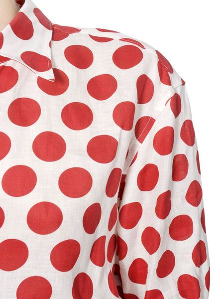 Red blouse white polka dots long blouse with pants for White red polka dot shirt