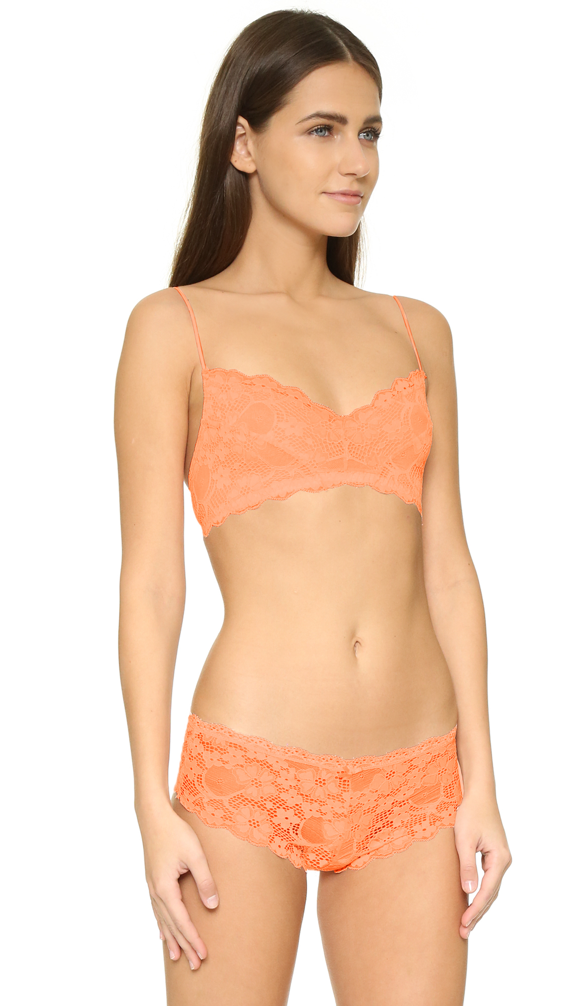 5ca813497c604 Lyst - Honeydew Intimates A Getaway Camellia Lace Bralette in Orange