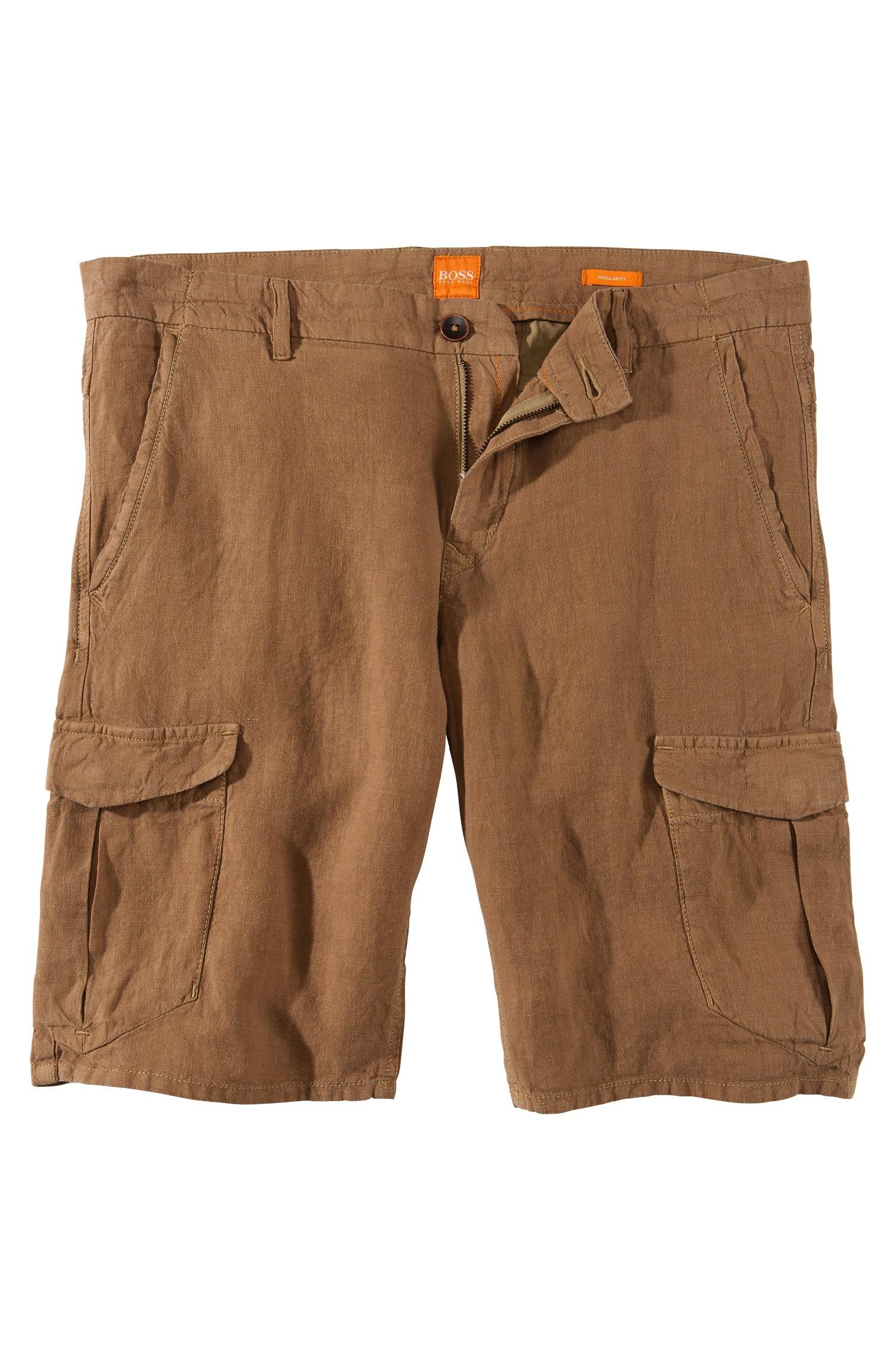 fc710817e BOSS Orange 'schwinn' | Regular Fit Linen Cargo Shorts in Natural ...