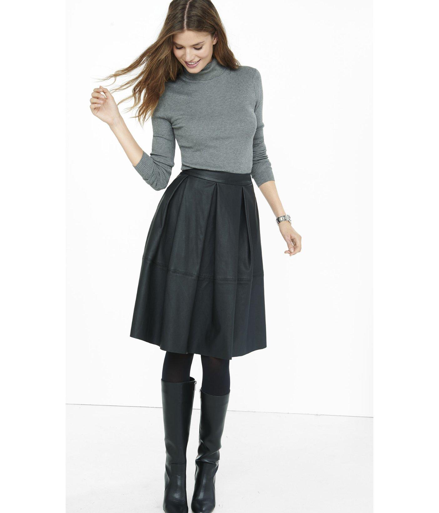 Express Black (minus The) Leather Full Midi Skirt in Black | Lyst