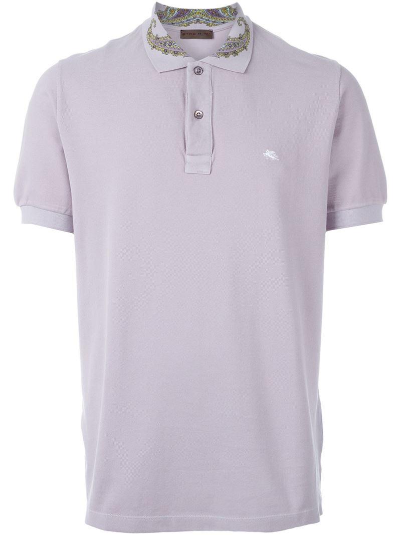 Etro Paisley Collar Polo Shirt In Pink For Men Lyst