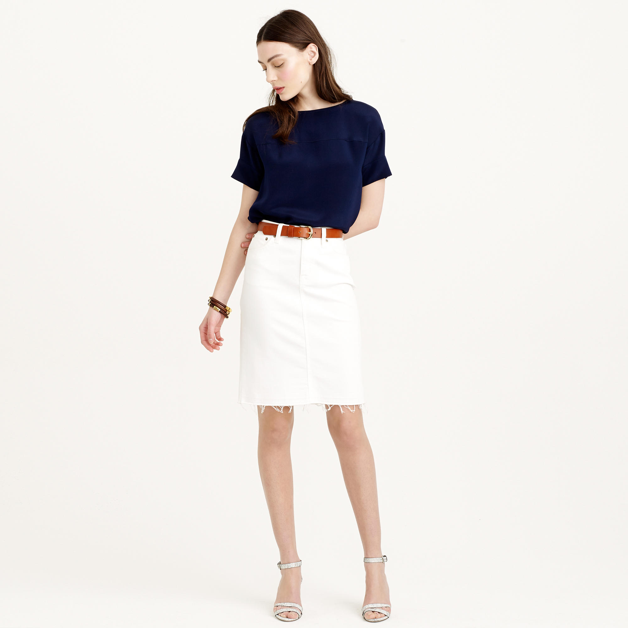 j crew white pencil skirt in stretch denim with edge