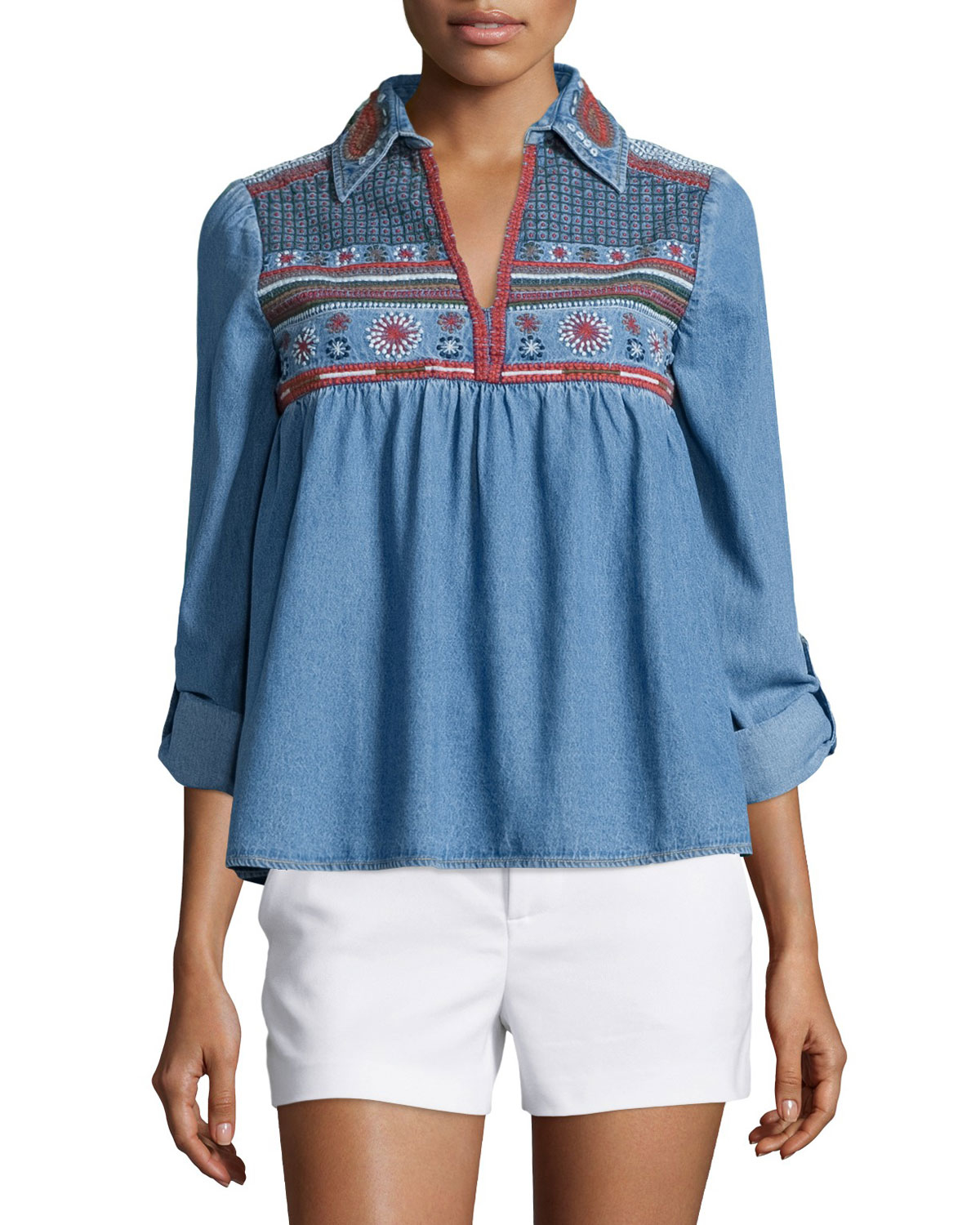 Alice olivia karly embroidered chambray top in blue lyst for Chambray top