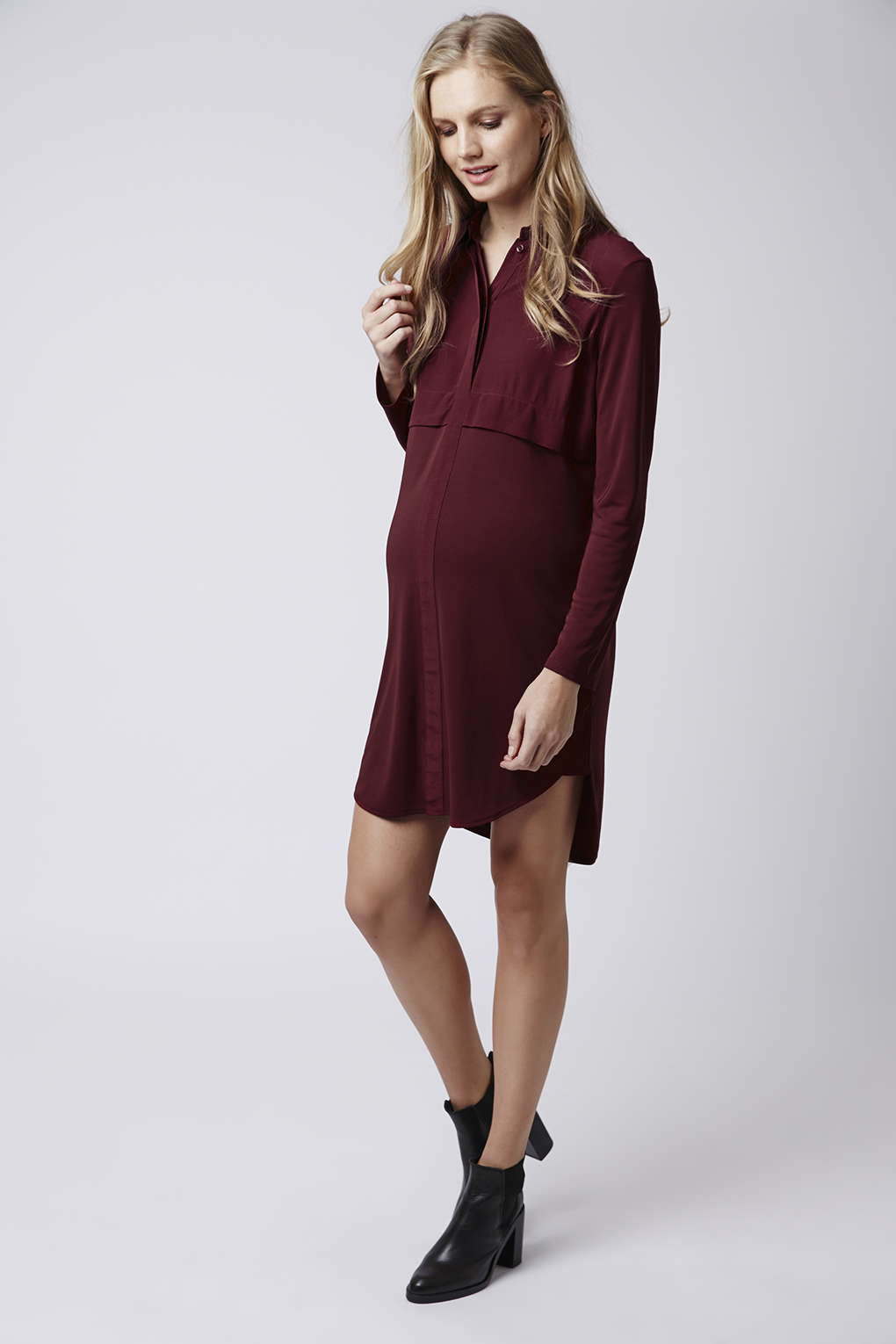 Topshop maternity shirt dress in purple lyst gallery ombrellifo Choice Image