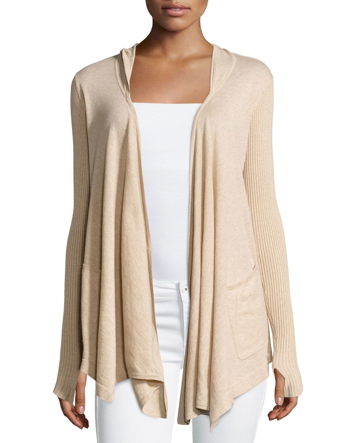 Minnie rose Cotton Hooded Open-front Duster Cardigan in Natural | Lyst