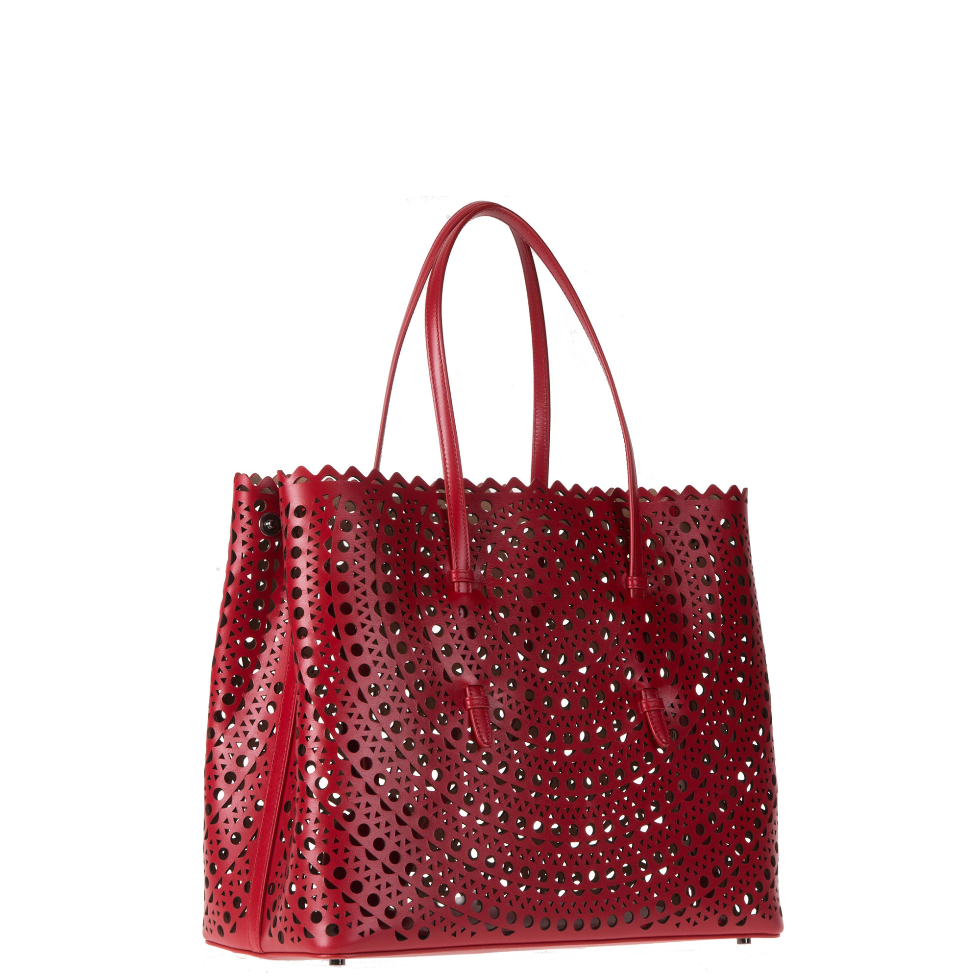 Ala 239 A Laser Cut Leather Tote Bag In Red Lyst