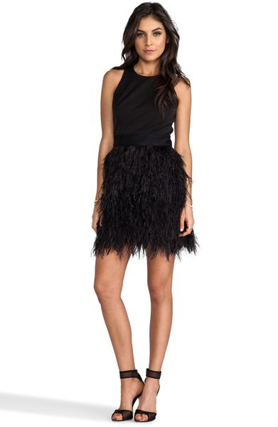 Milly Milly Cocktail Feather Dress In Black In Black Lyst
