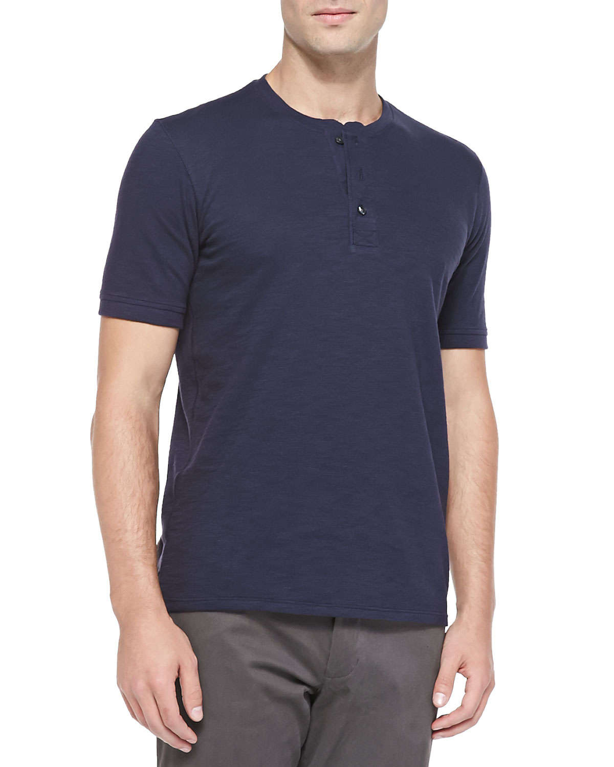 Vince basic cotton henley t shirt in blue for men lyst for Vince tee shirts sale