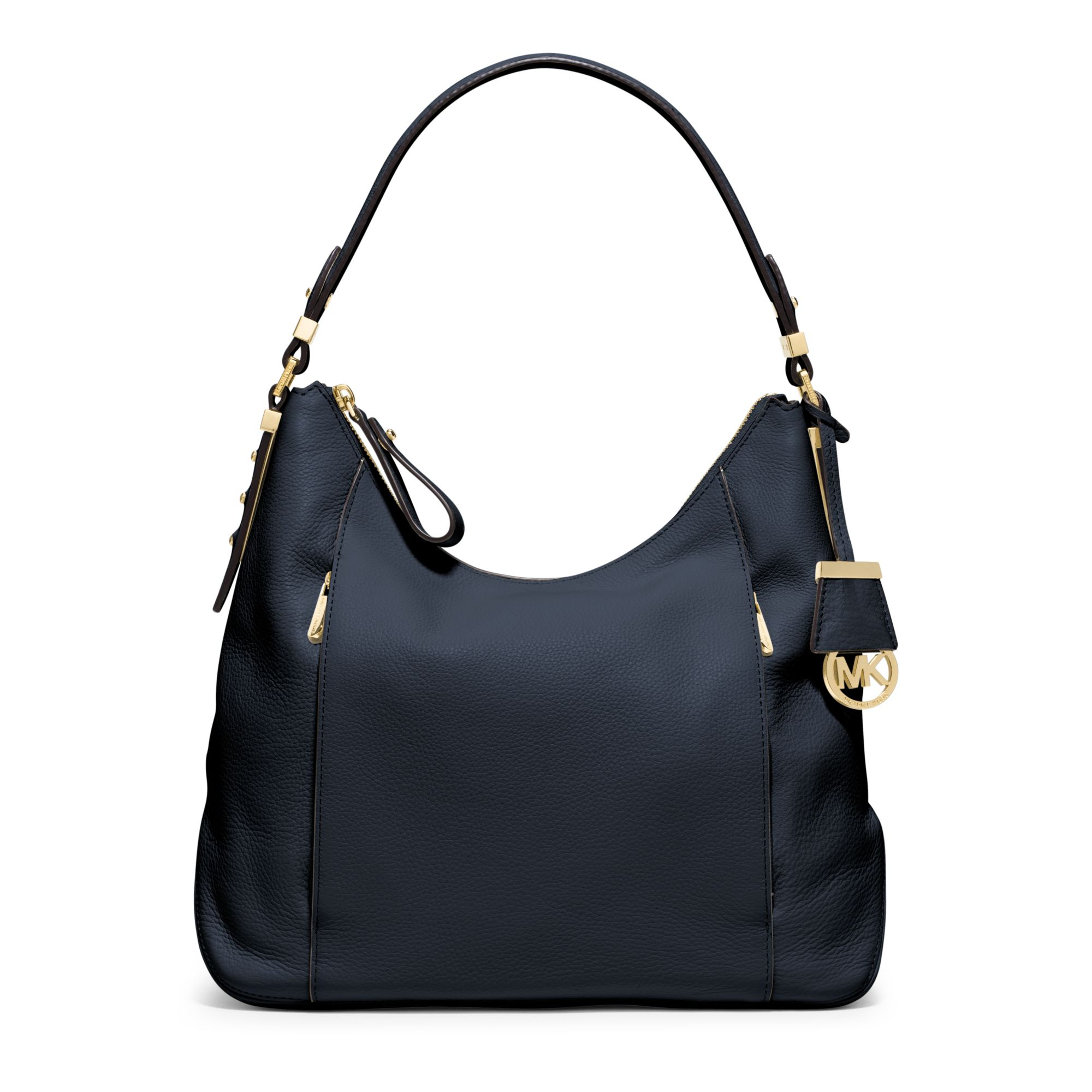 michael kors bowery large leather shoulder bag in blue lyst