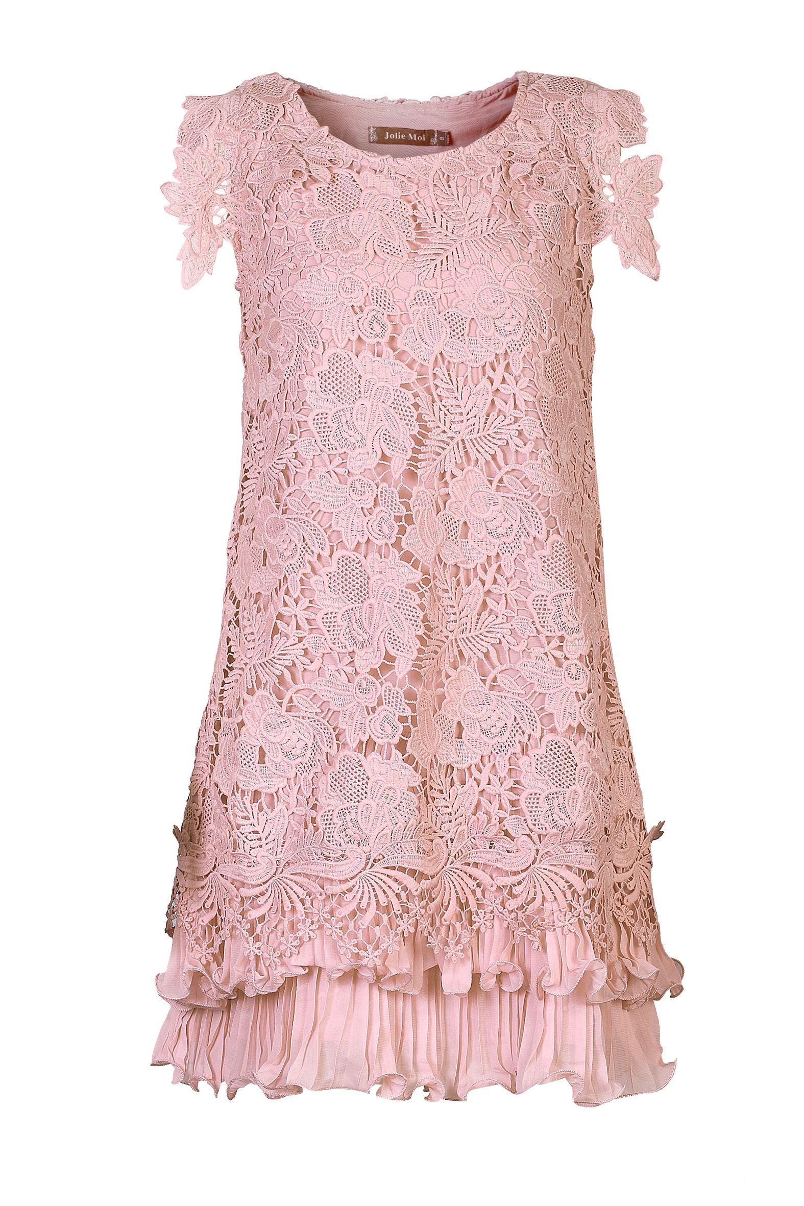 Crochet Lace Dress : Jolie moi Crochet Lace A-line Dress in Pink Lyst