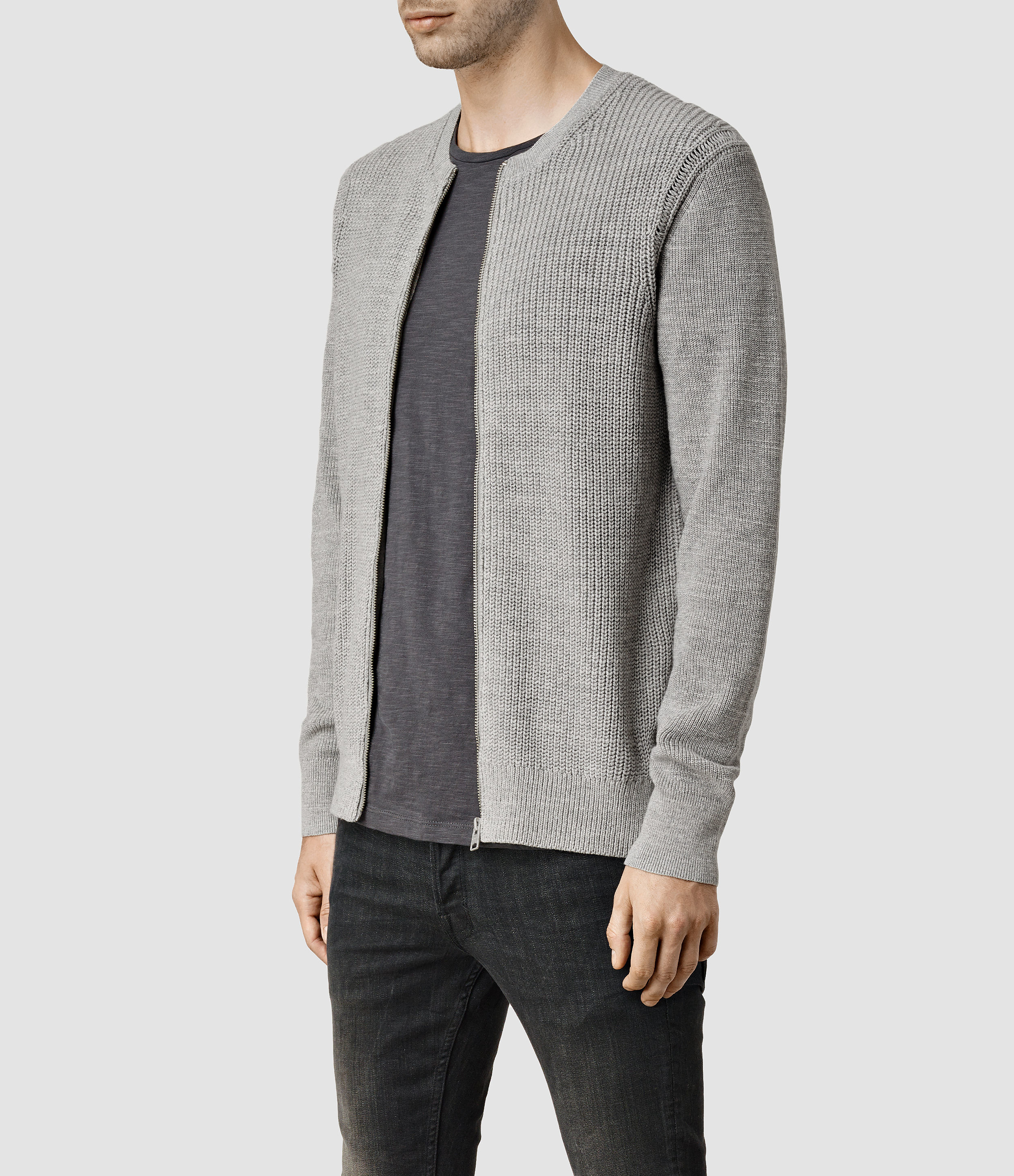 Allsaints Rothay Zip Cardigan in Gray for Men | Lyst
