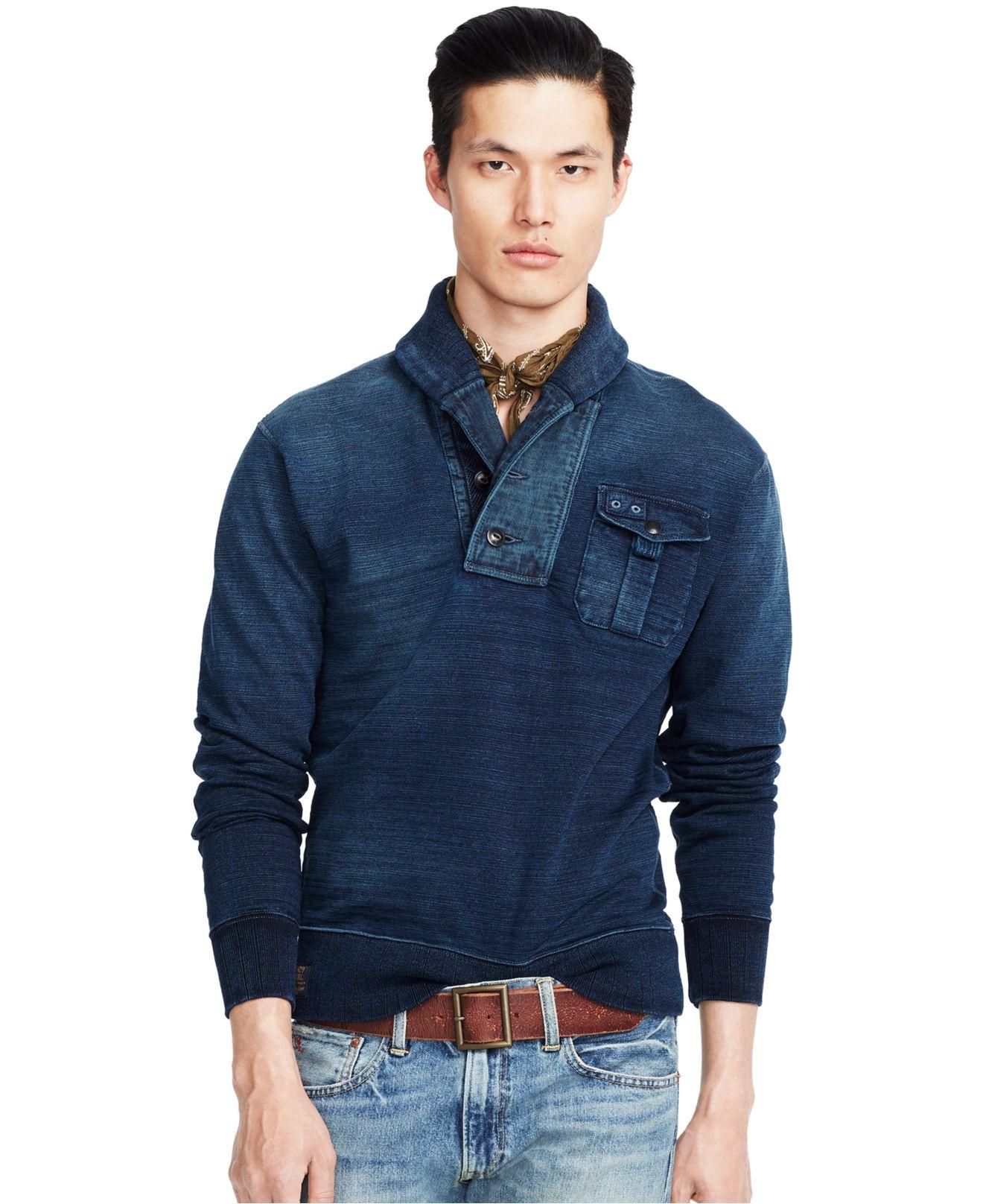 polo ralph lauren fleece shawl pullover in blue for men. Black Bedroom Furniture Sets. Home Design Ideas