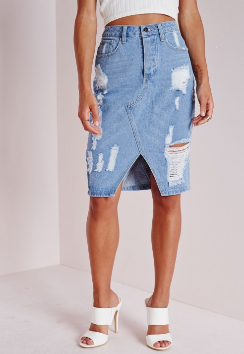 Missguided Ripped Midi Vintage Denim Skirt Pale Blue in Blue | Lyst