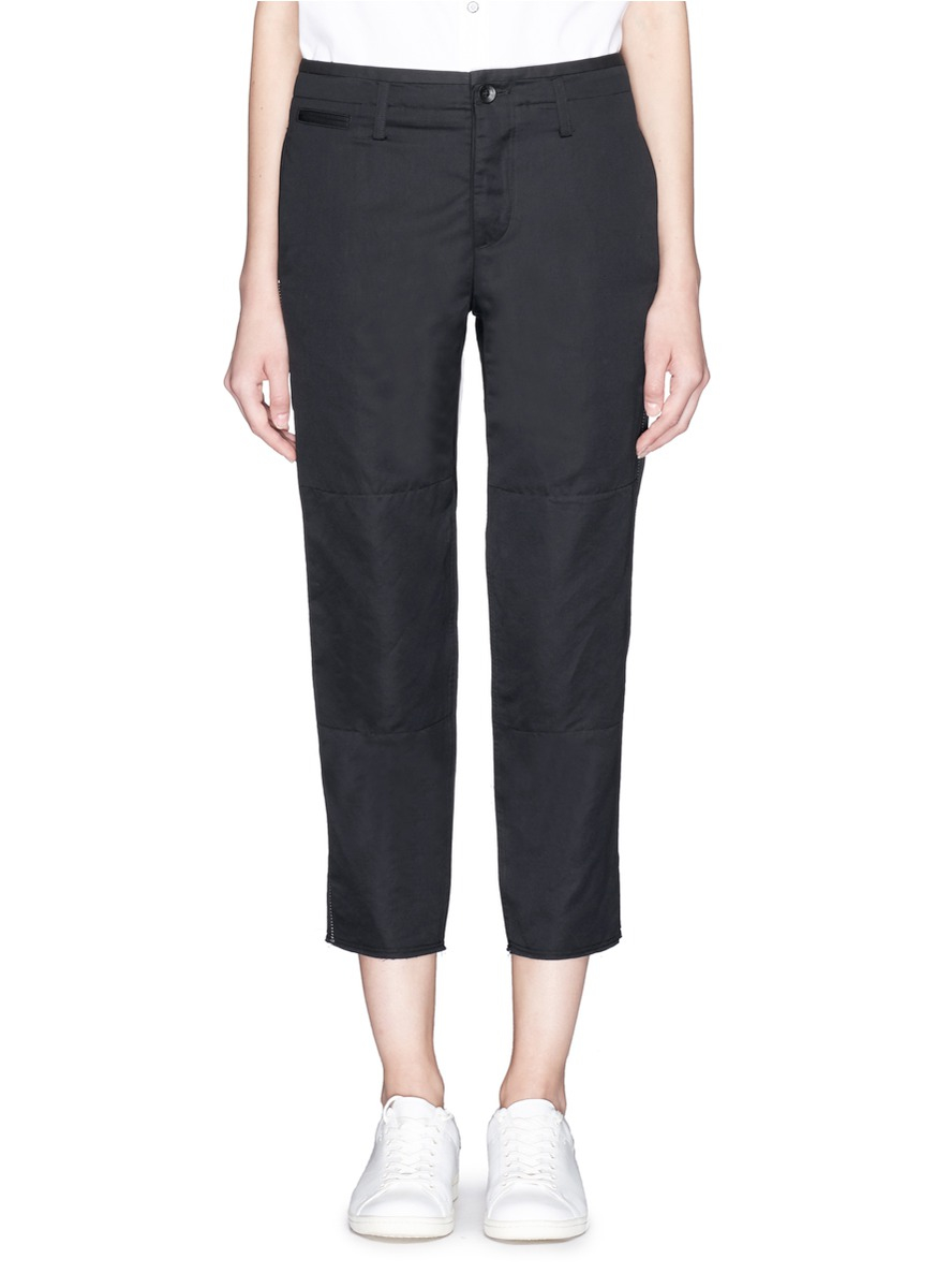 Rag & bone 'ashbury' Cotton-linen Cropped Pants in Black | Lyst