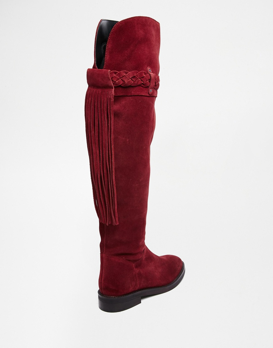 cf134f8a0 ASOS Kilo Suede Flat Over The Knee Boots - Berry in Red - Lyst