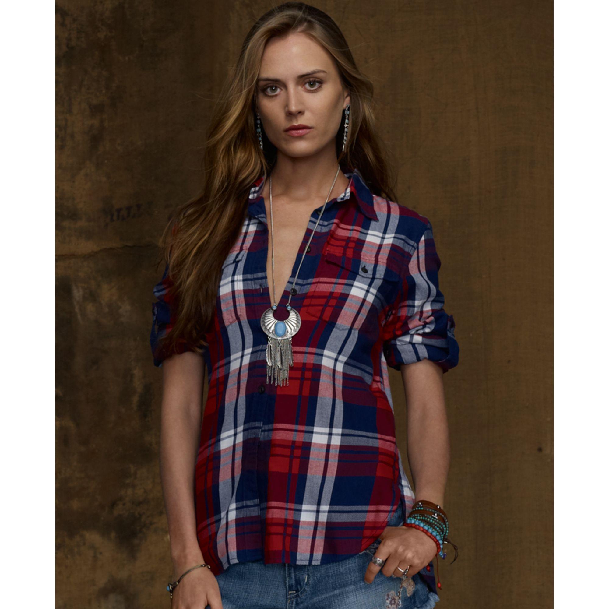 Denim supply ralph lauren longsleeve plaid flannel shirt for Ladies soft flannel shirts