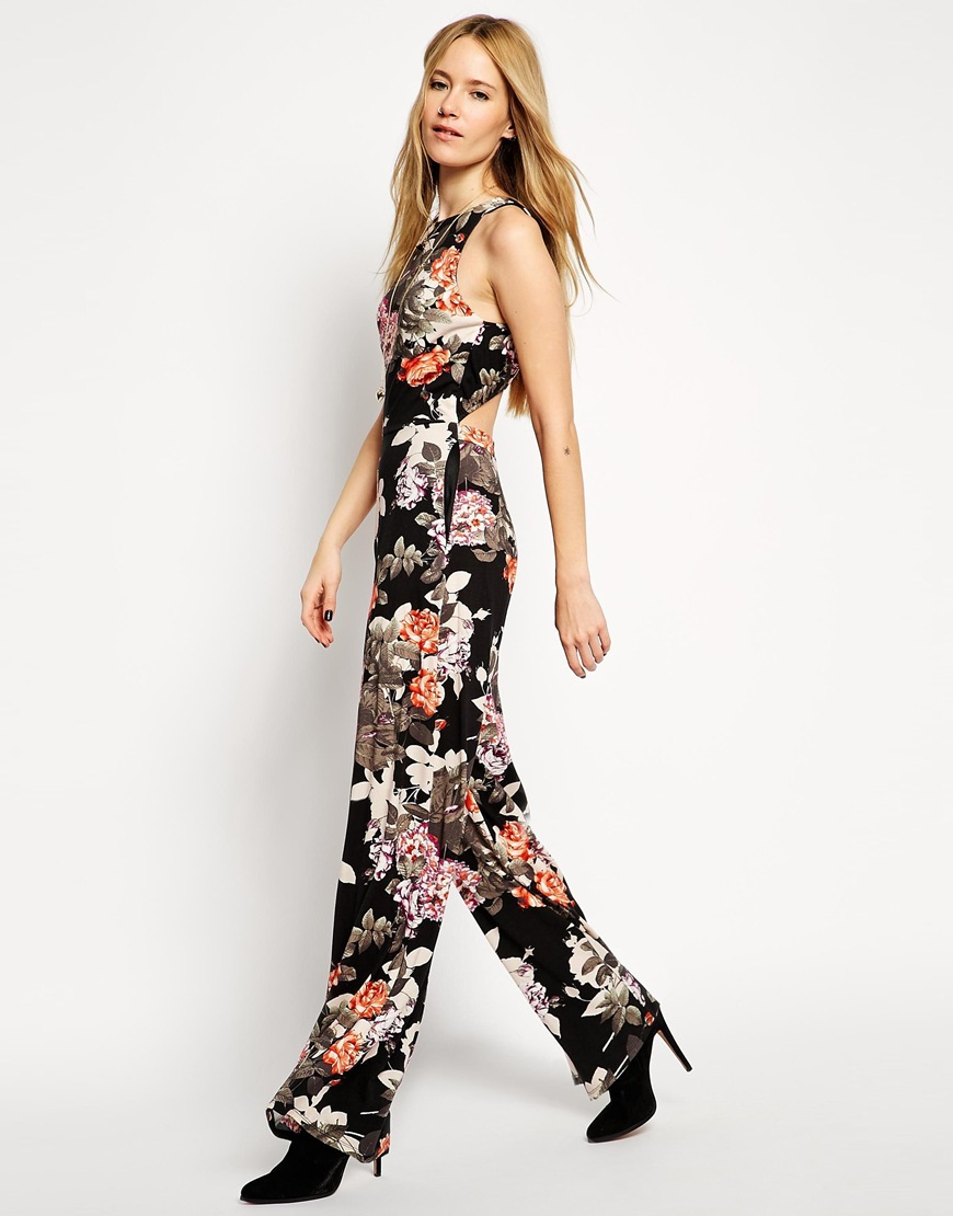 Lyst - Asos Wide Leg Jumpsuit In Floral Print With Cut Out