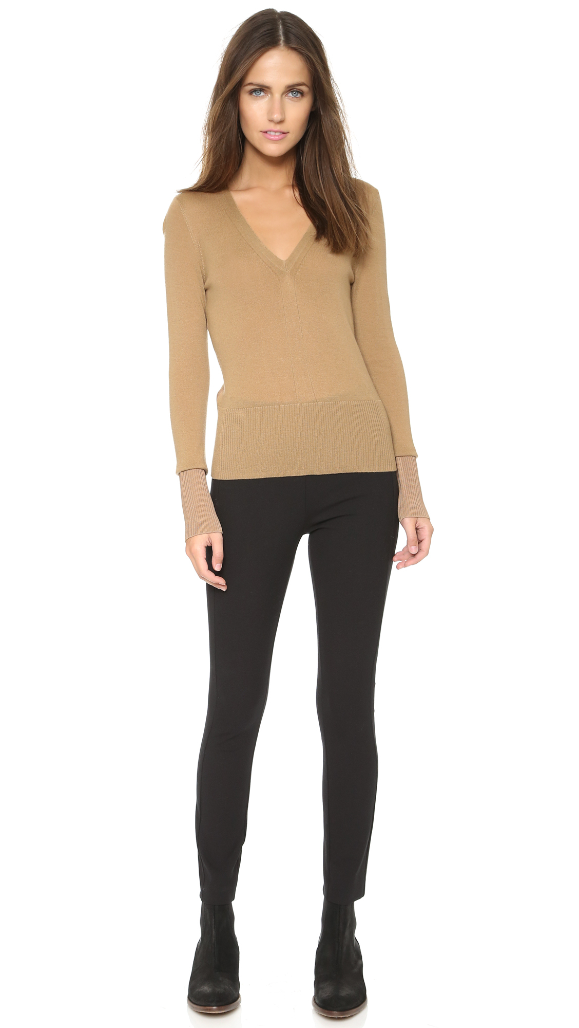Rag & bone Jessica V Neck Sweater - Tan in Brown | Lyst