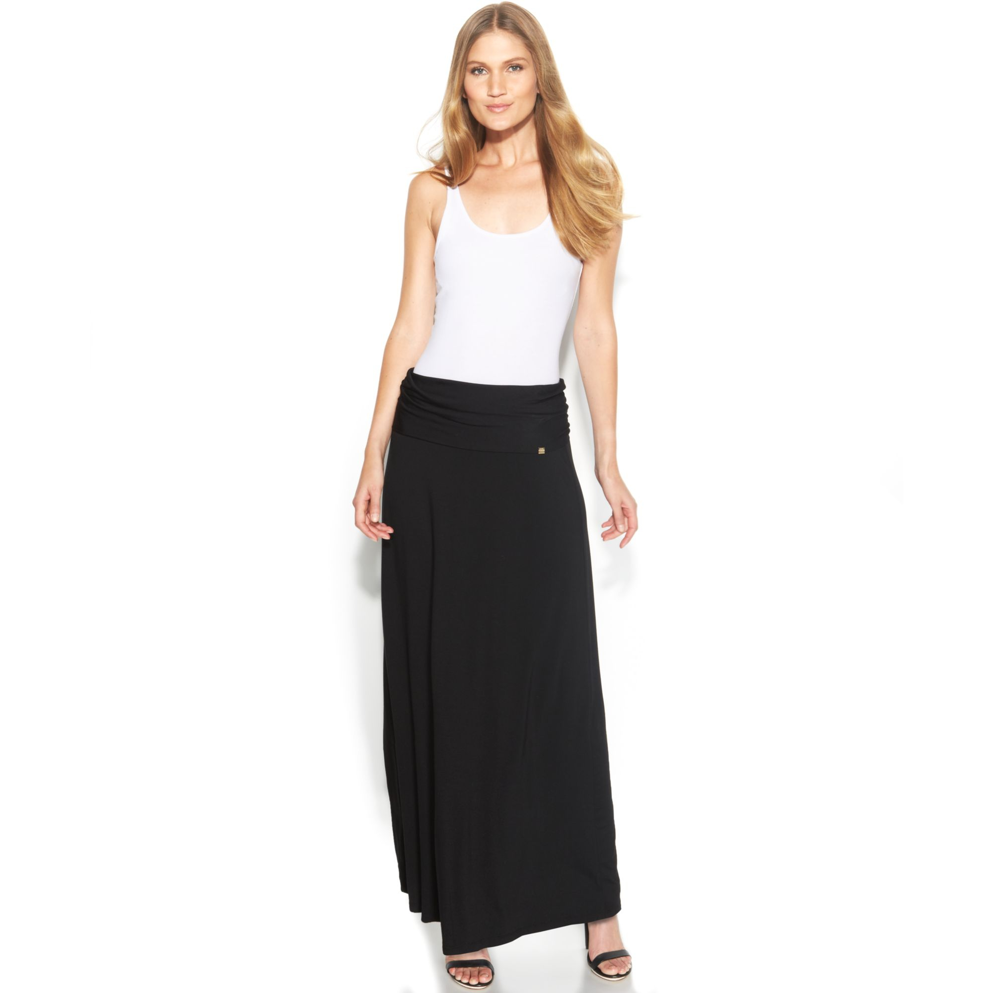 calvin klein foldover maxi skirt in black lyst