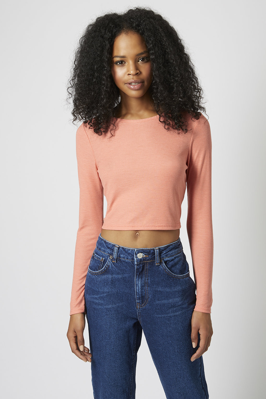 721c63a68ddfe6 TOPSHOP Long Sleeve Skinny Ribbed Crop Top in Pink - Lyst