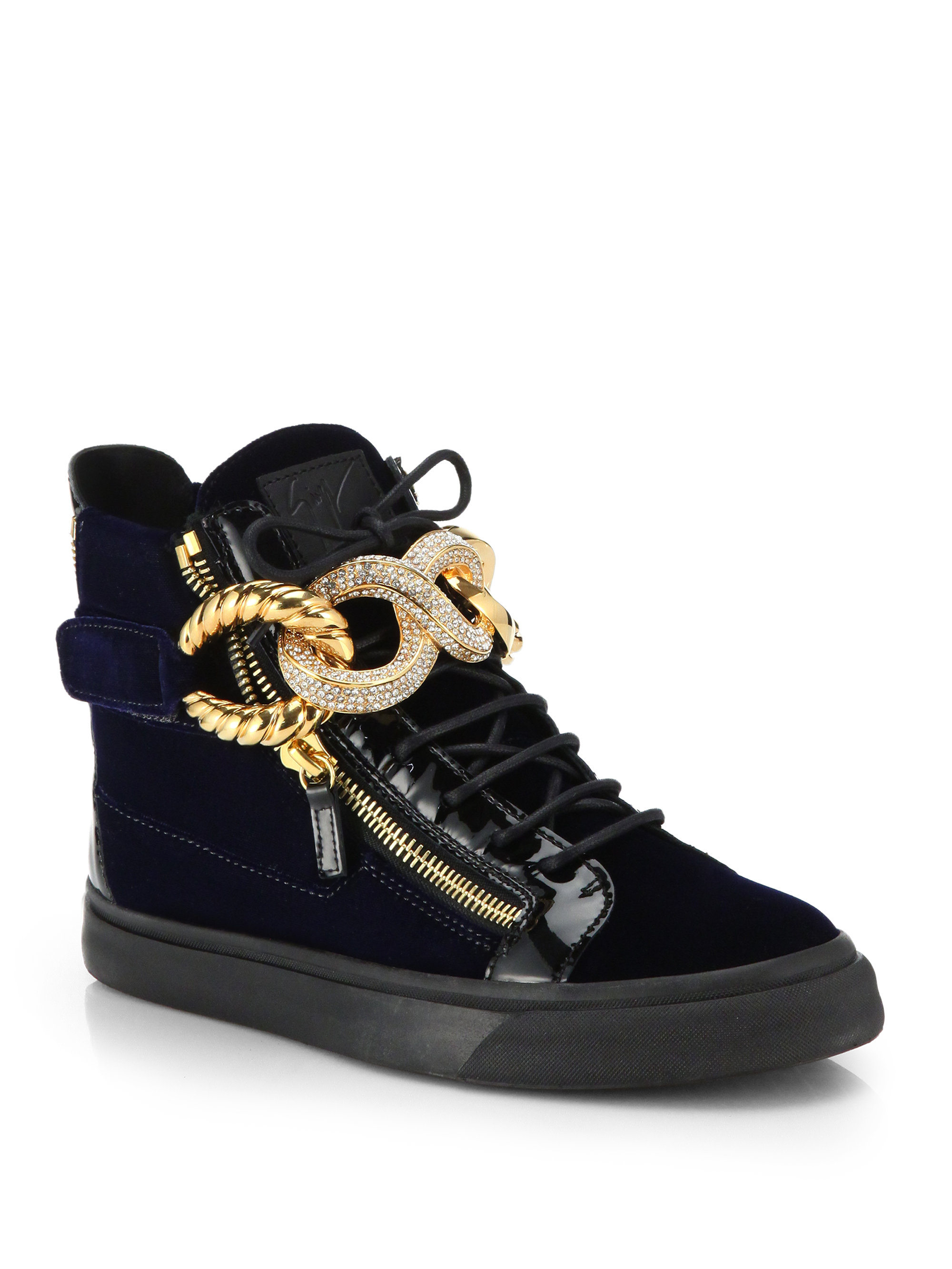 2831b77483502 Giuseppe Zanotti Patent And Velvet High-Top Sneakers in Blue for Men ...