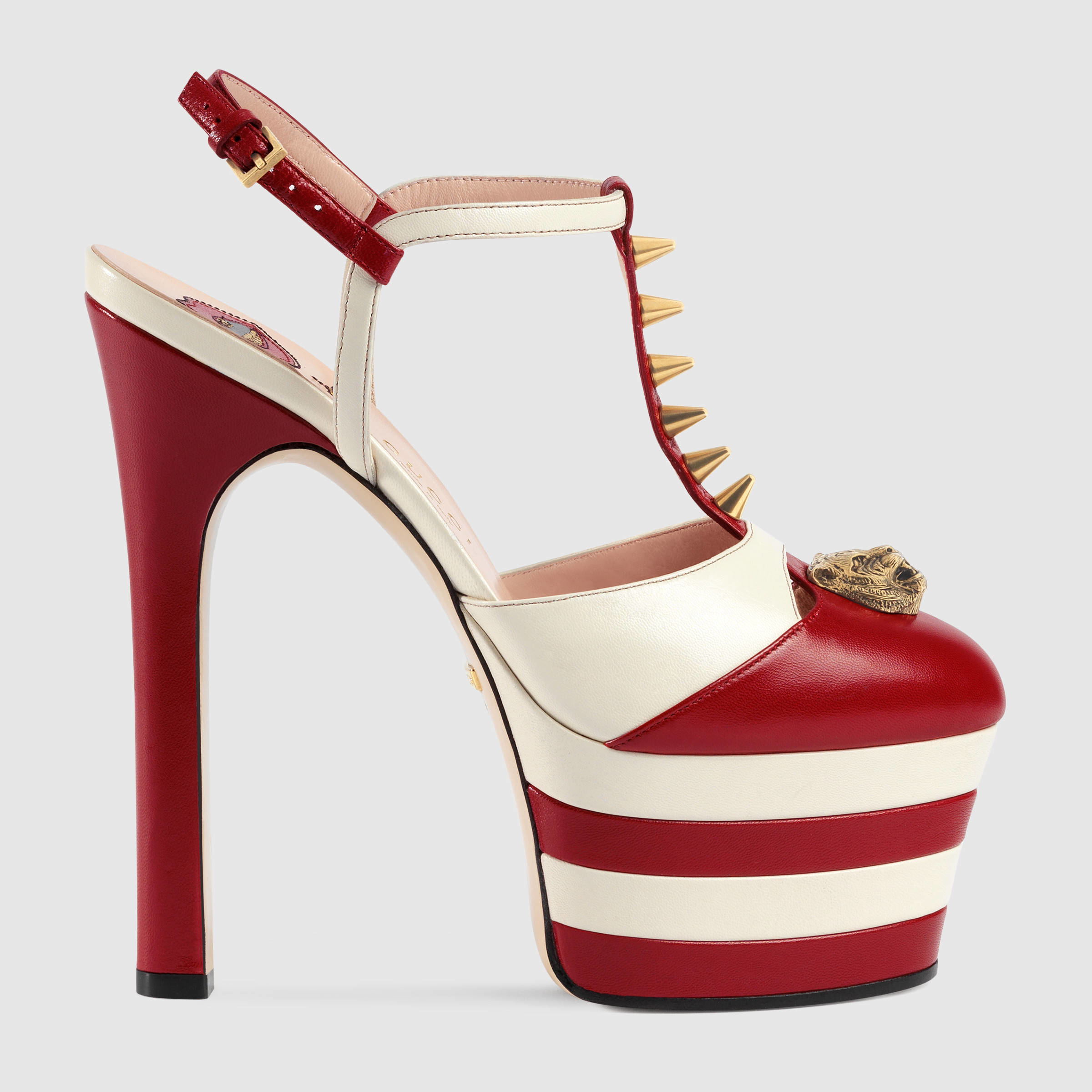 bfe8a37078 Gucci Studded Leather Platform Pump in Red - Lyst