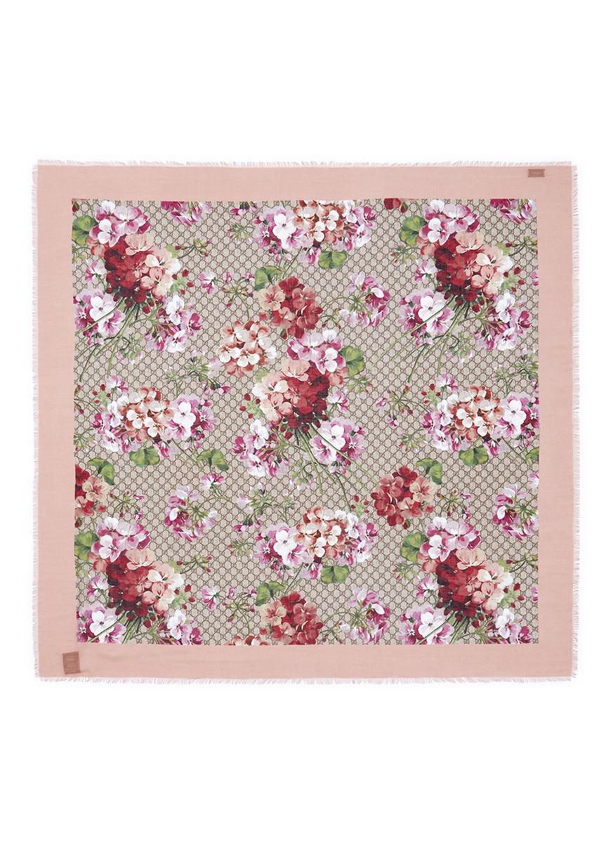 Lyst - Gucci 'blooms' Monogram Floral Print Modal-silk ...