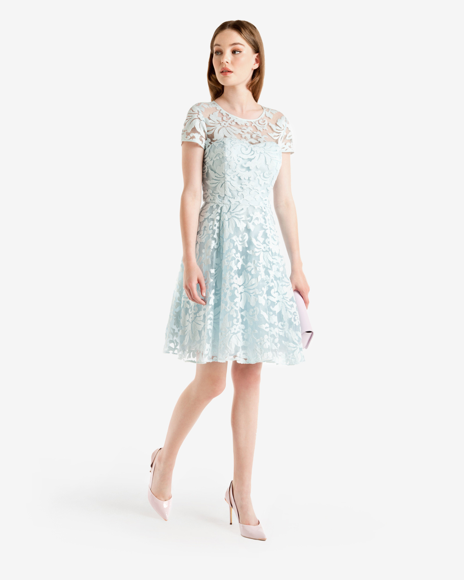 074be2dc4f38e0 Lyst - Ted Baker Floral Lace Dress in Blue
