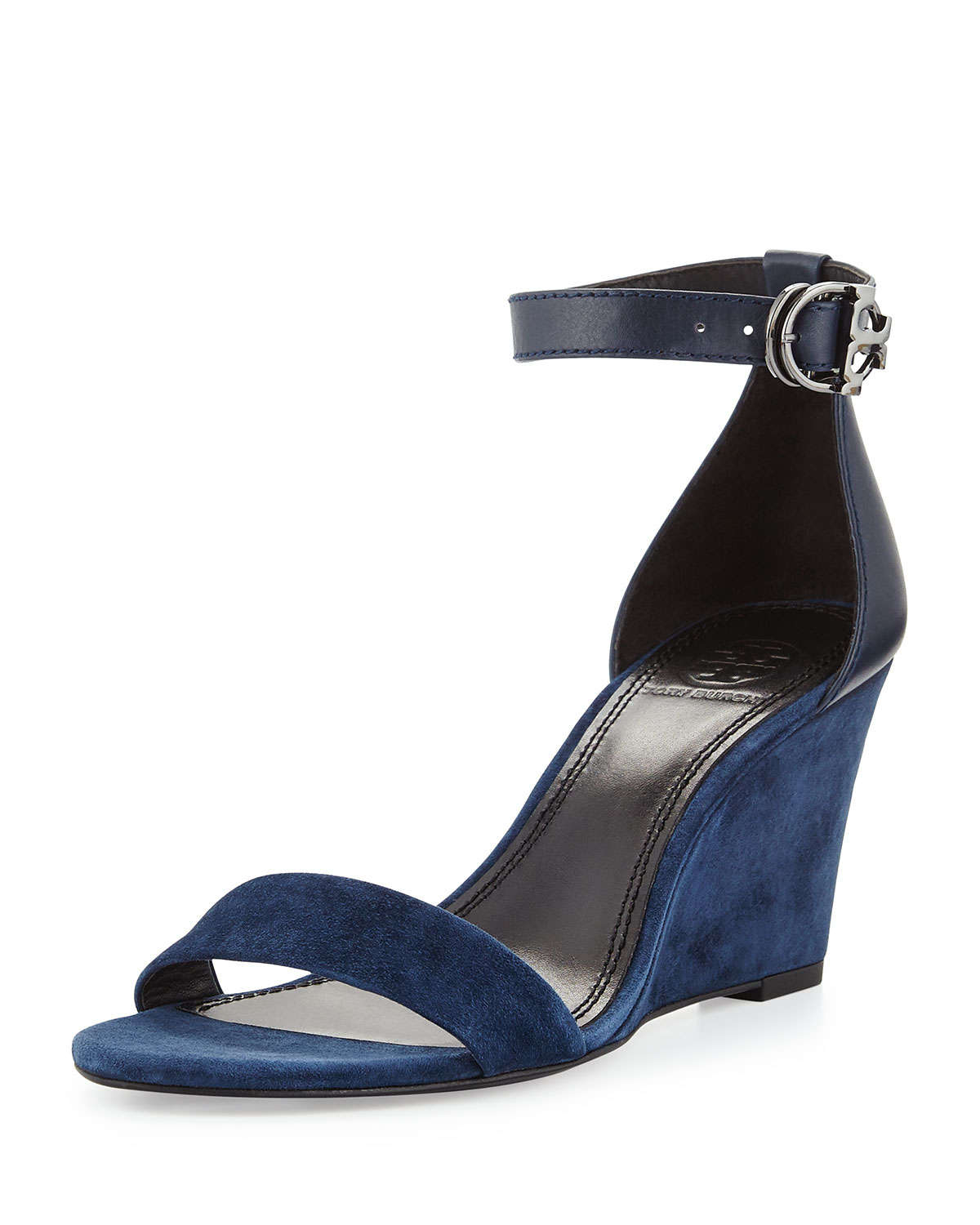 4e416b25889833 Lyst - Tory Burch Thames Suede Wedge Sandals in Blue