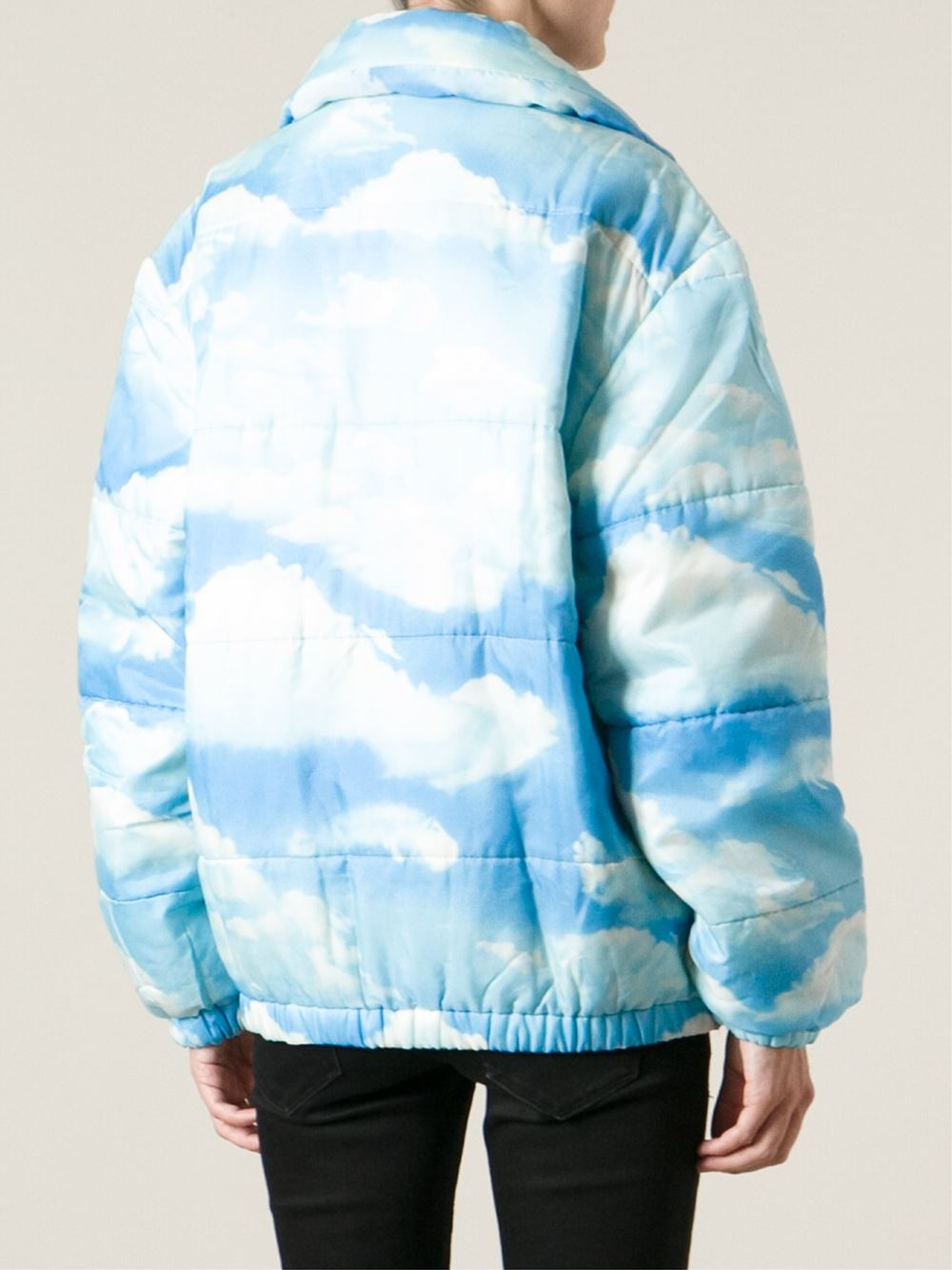 Moschino Cloud Print Padded Jacket In Blue Lyst