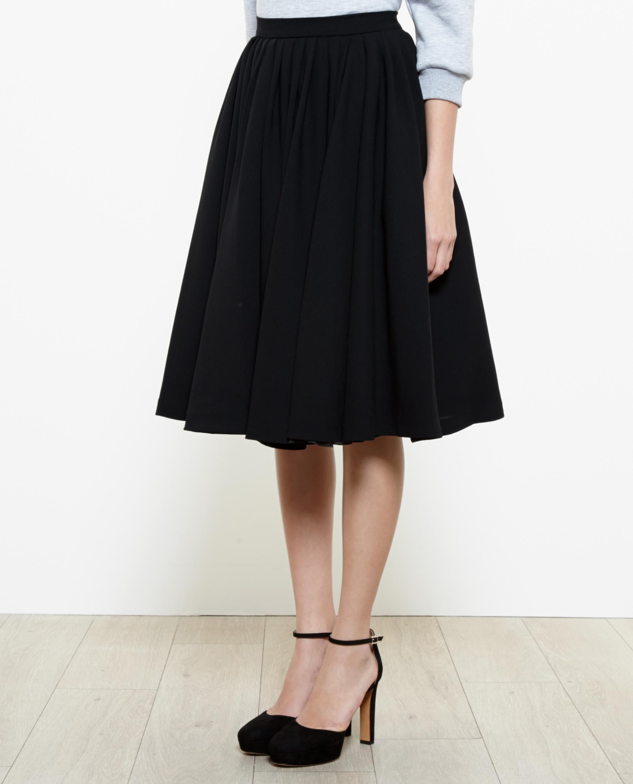 8cdd016591 Natasha Zinko Pleated Wool Midi Skirt in Black - Lyst