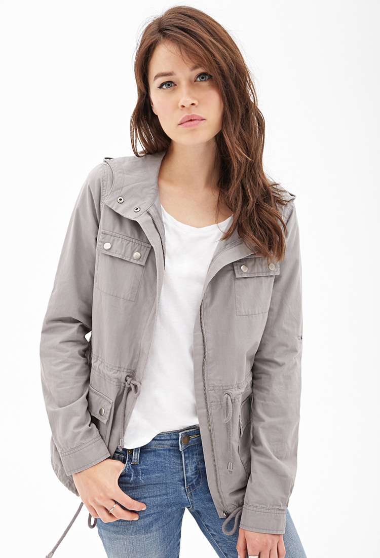 Forever 21 Contemporary Life In Progress Hooded Utility Jacket in Gray - Lyst
