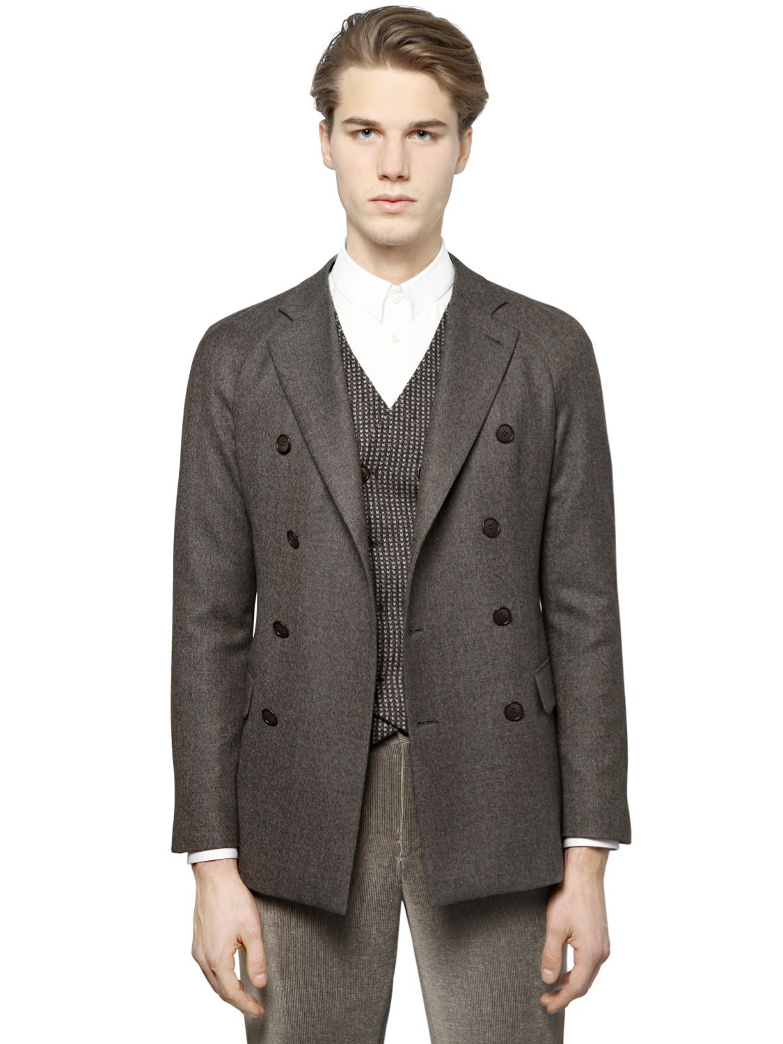 Giorgio armani Wool Blend Tweed Jacket in Brown for Men | Lyst