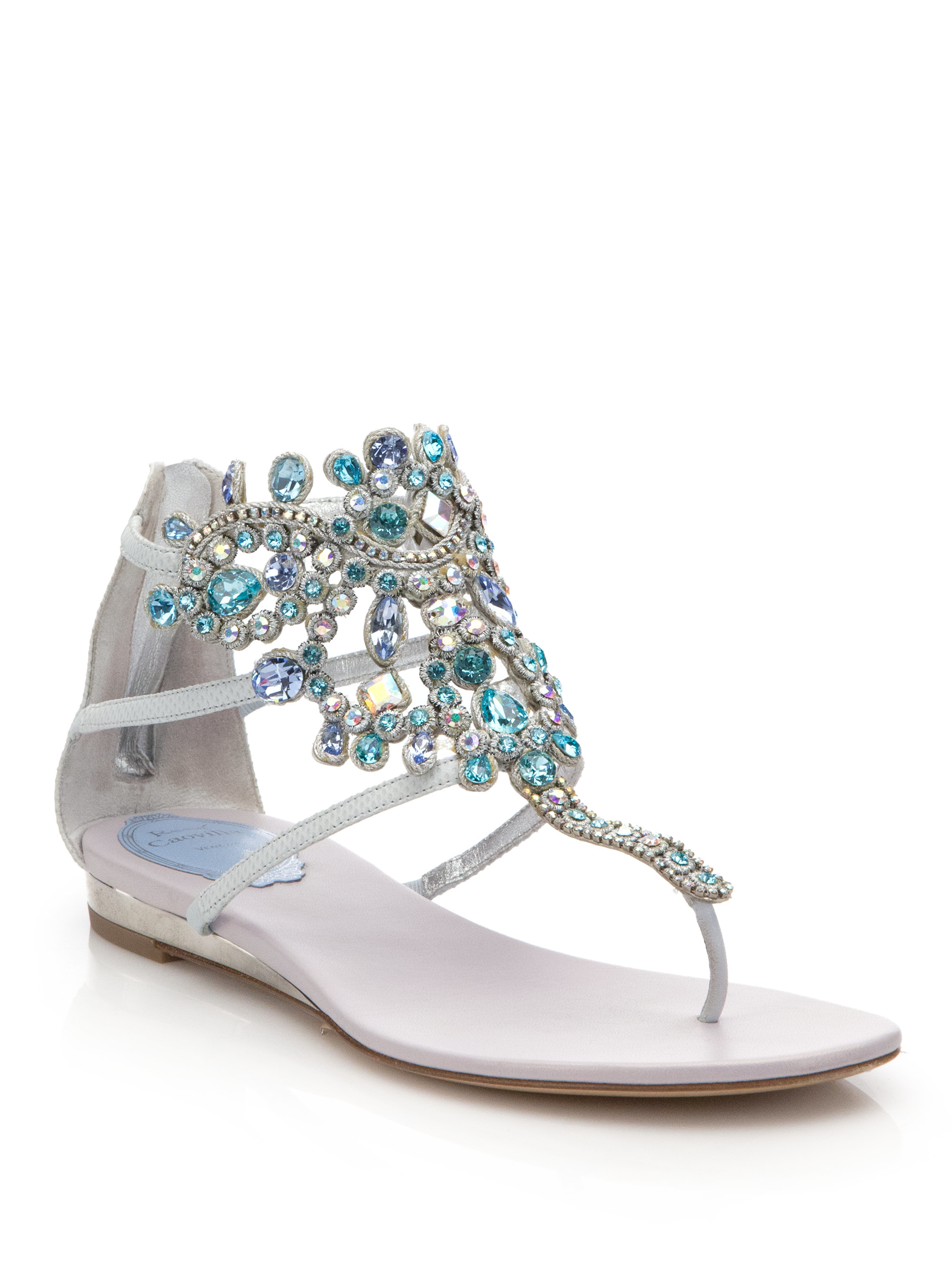 52e1e19144056c Lyst - Rene Caovilla Swarovski Crystal-embellished Snakeskin Sandals ...