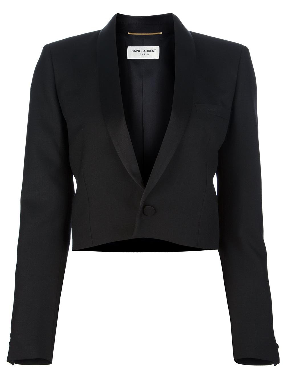 Saint laurent Cropped Jacket in Black | Lyst