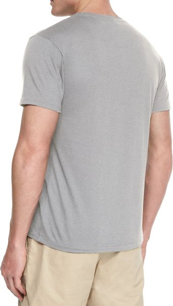 Lacoste woven baseball collar henley shirt in gray for men for Mens collared henley shirt