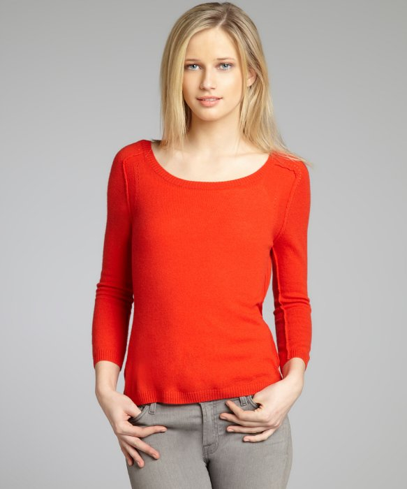 Autumn cashmere Tomato Cashmere Knit Button Back Sweater in Red | Lyst