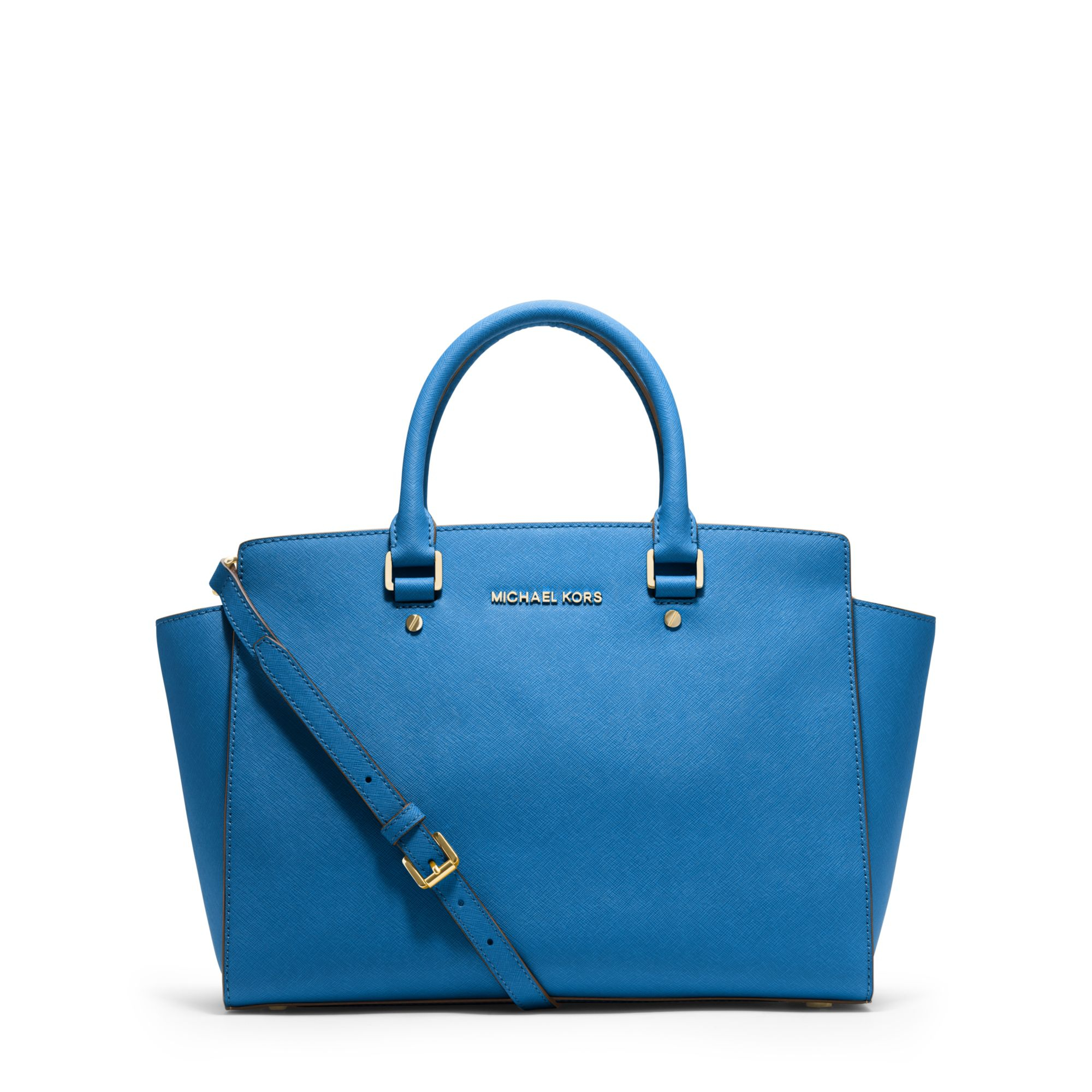 michael kors selma large saffiano leather satchel in blue. Black Bedroom Furniture Sets. Home Design Ideas