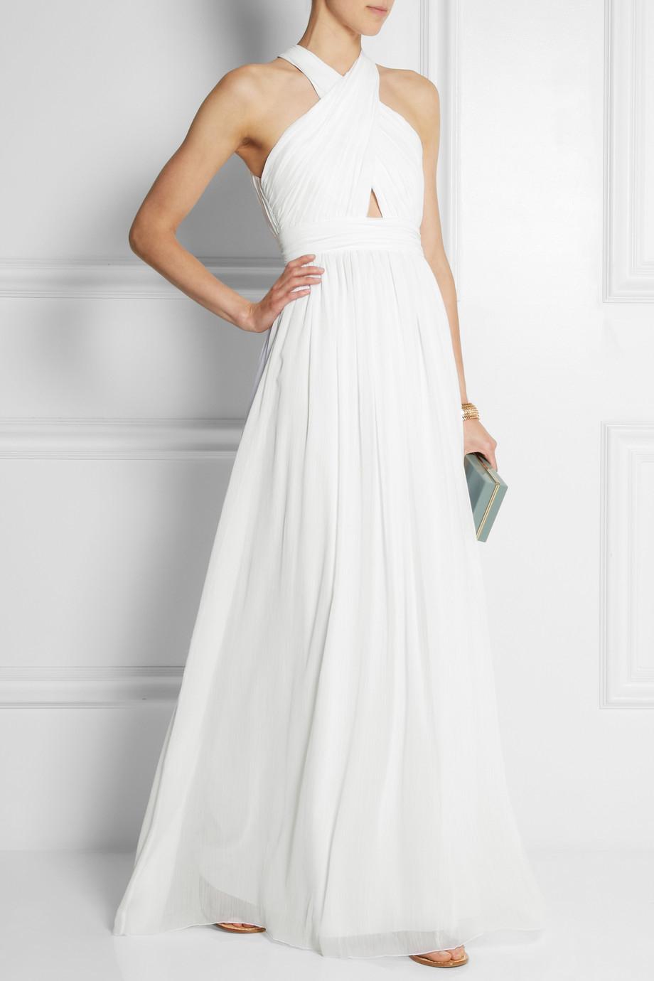 78cf3c6e62c3 Lyst - Alice + Olivia Jaelyn Cutout Chiffon Maxi Dress in White