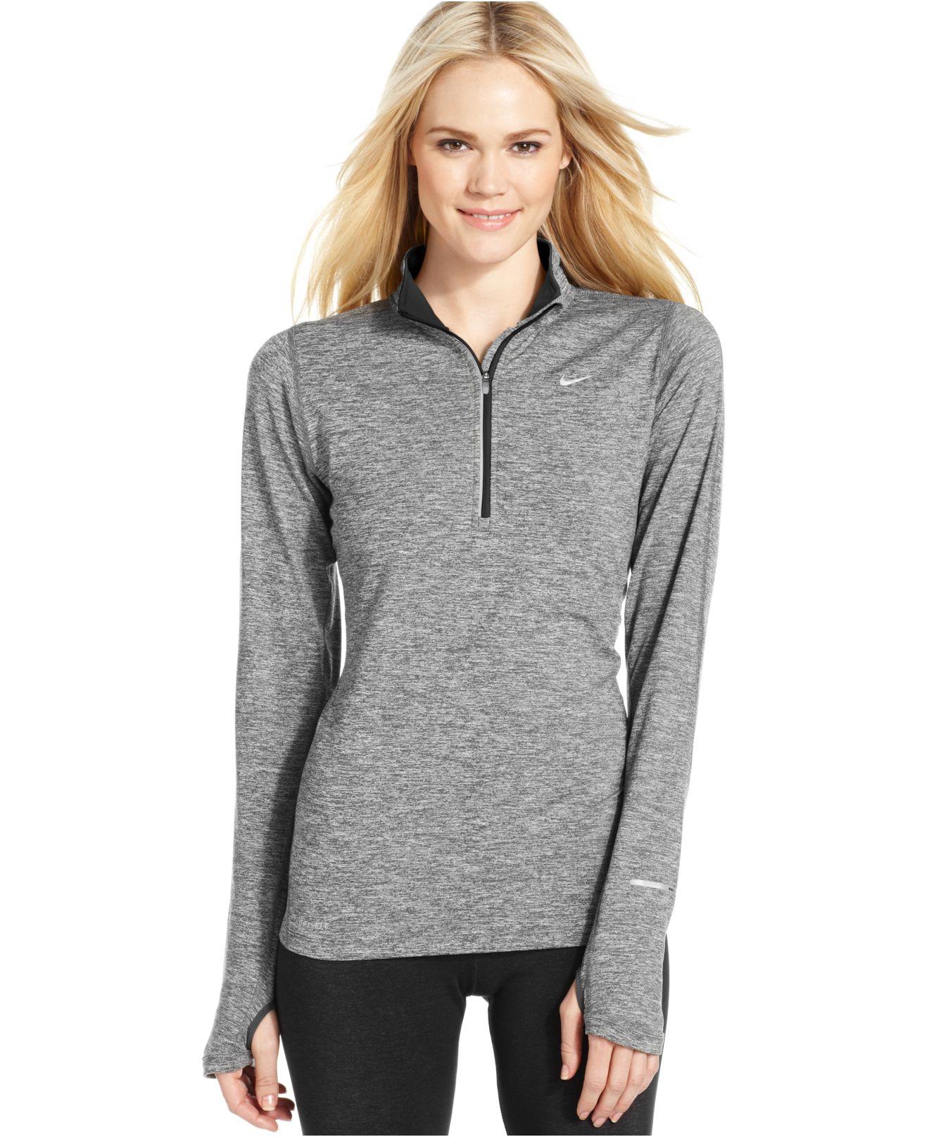 Nike Element Dri Fit Half Zip Pullover In Gray Lyst